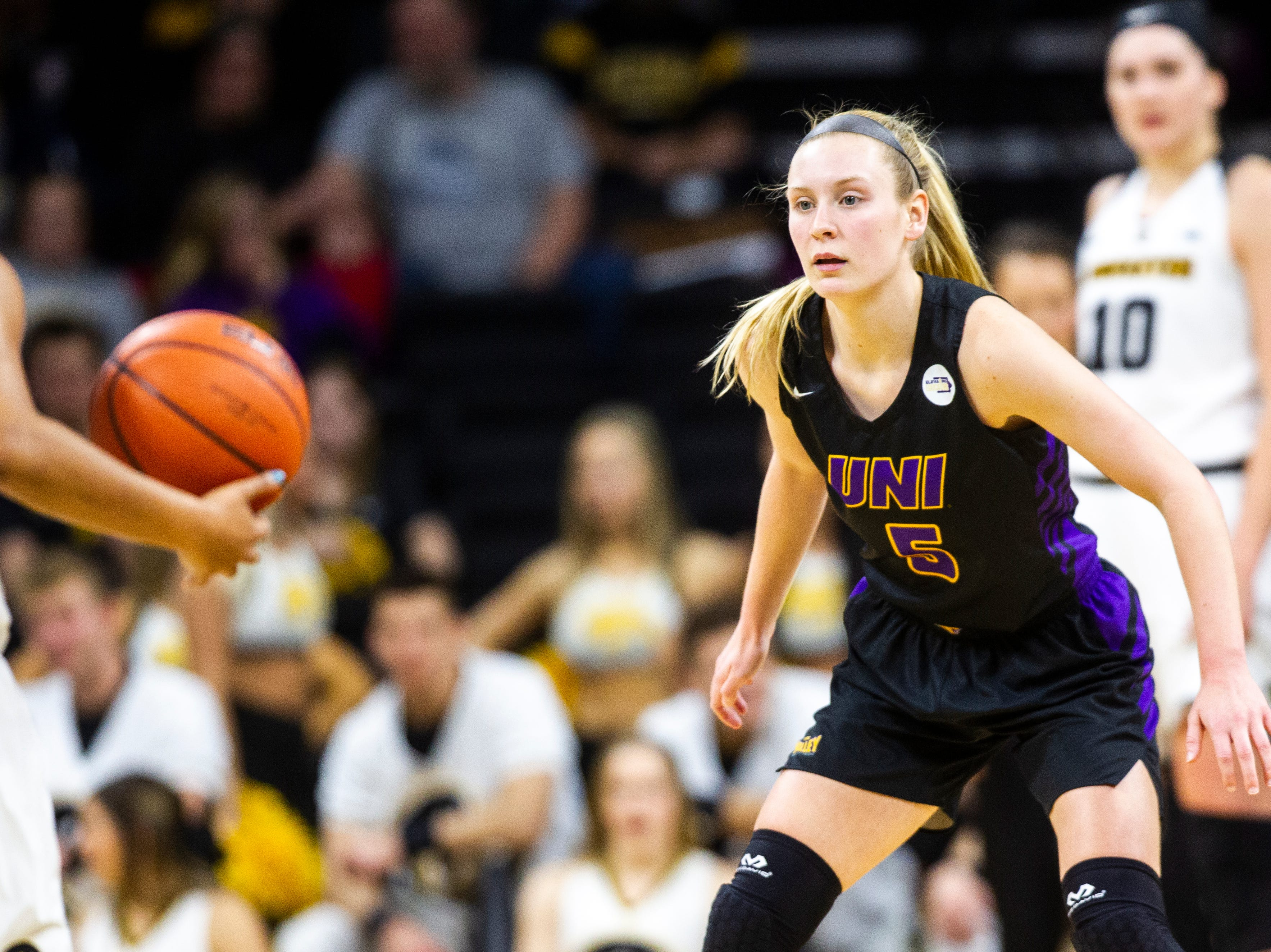 Northern Iowa guard Nicole Kroeger (5) drops back on defense during a NCAA women's basketball game on Sunday, Dec. 16, 2018, at Carver-Hawkeye Arena in Iowa City.