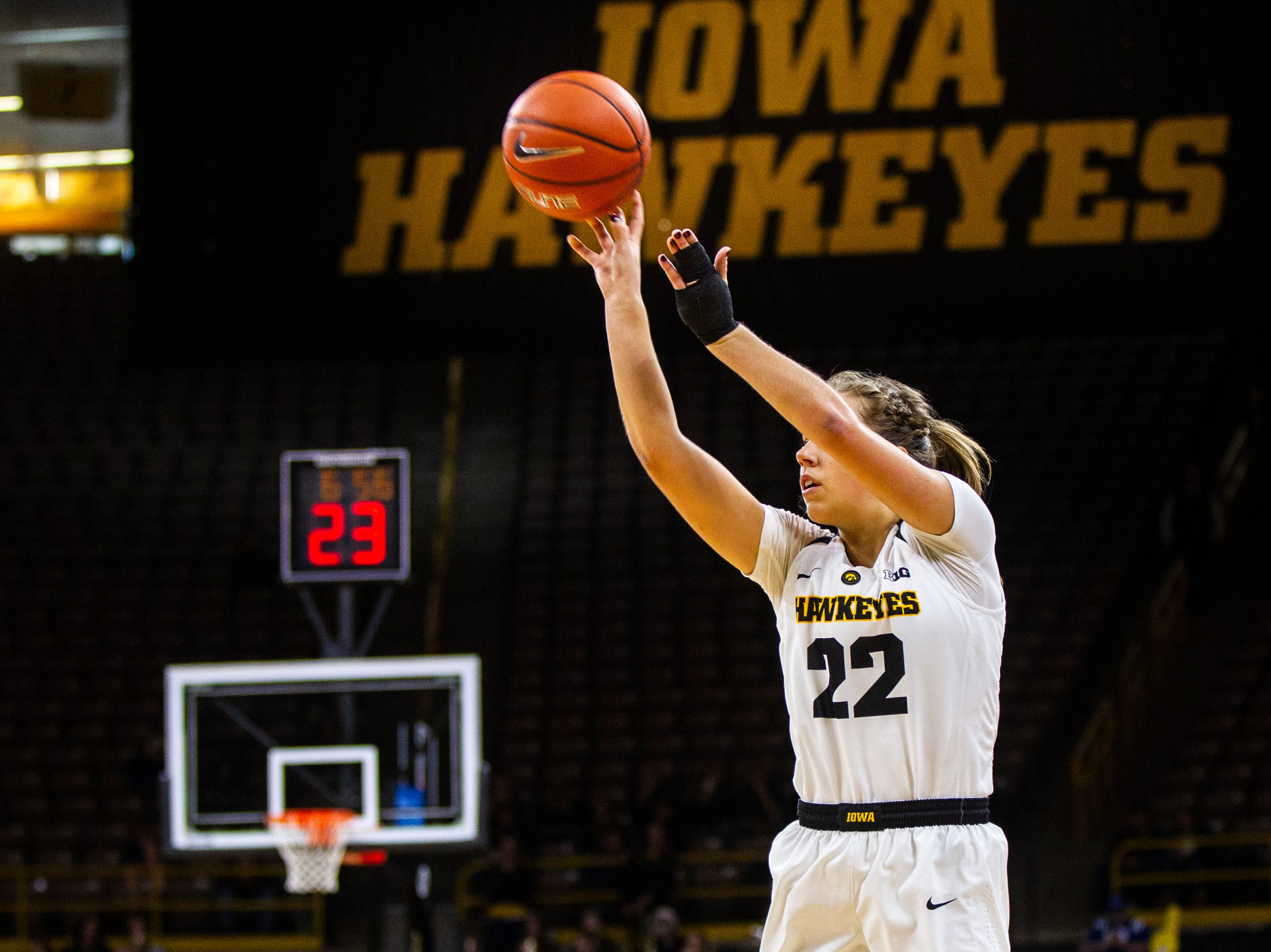 Iowa guard Kathleen Doyle (22) shoots a 3-point basket during a NCAA women's basketball game on Sunday, Dec. 16, 2018, at Carver-Hawkeye Arena in Iowa City.