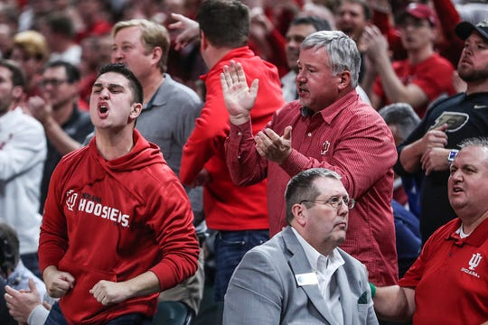 Indiana Hoosiers fans cheer on their team in the second half of the Crossroads Classic game against Butler at Banker's Life Fieldhouse in Indianapolis, Saturday, Dec. 15, 2018. The Hoosiers won, 71-68.