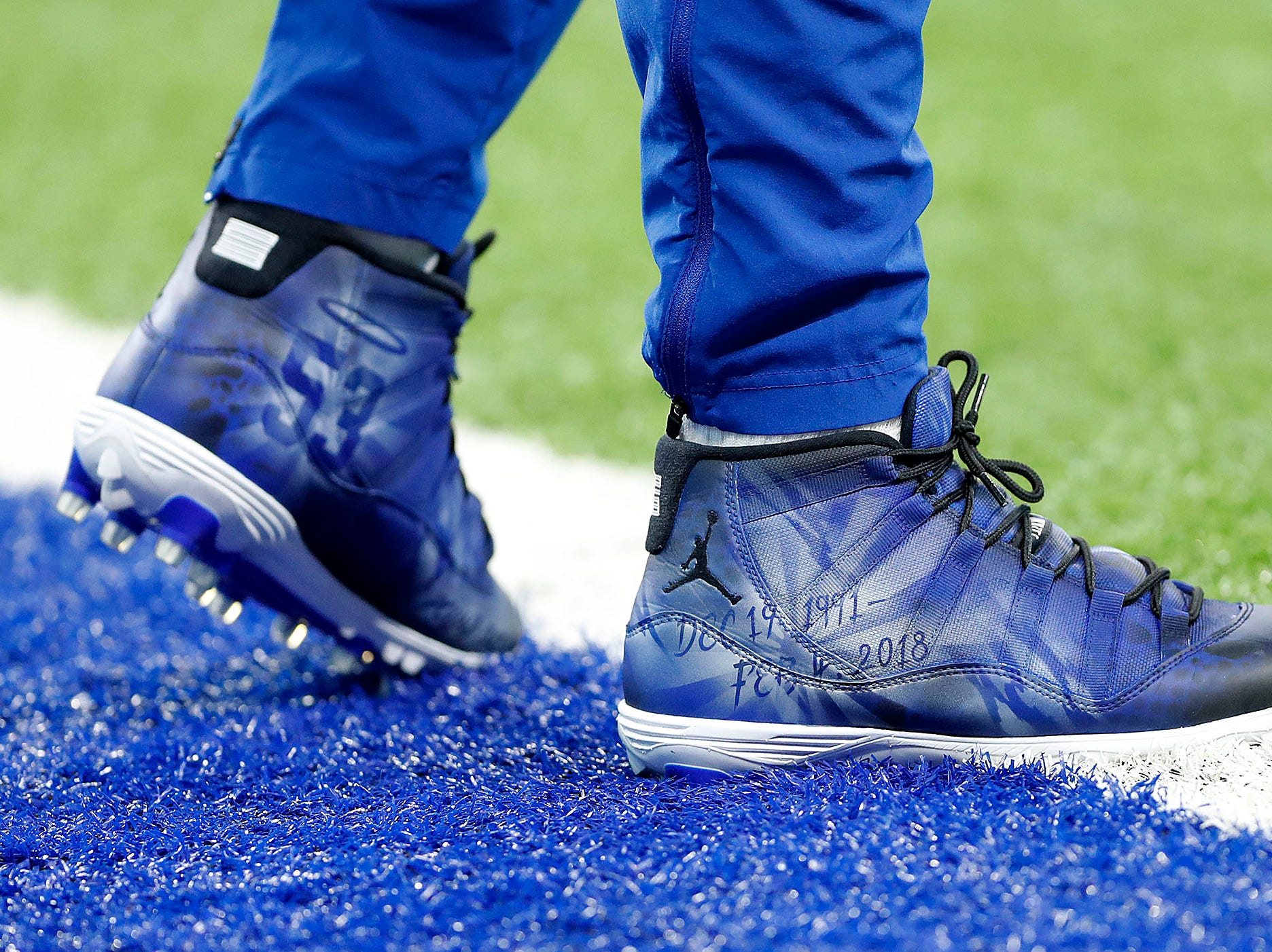 Indianapolis Colts outside linebacker Darius Leonard (53) and his My Cleats, My Cause before the start of their game against the Dallas Cowboys at Lucas Oil Stadium on Sunday, Dec. 16, 2018.