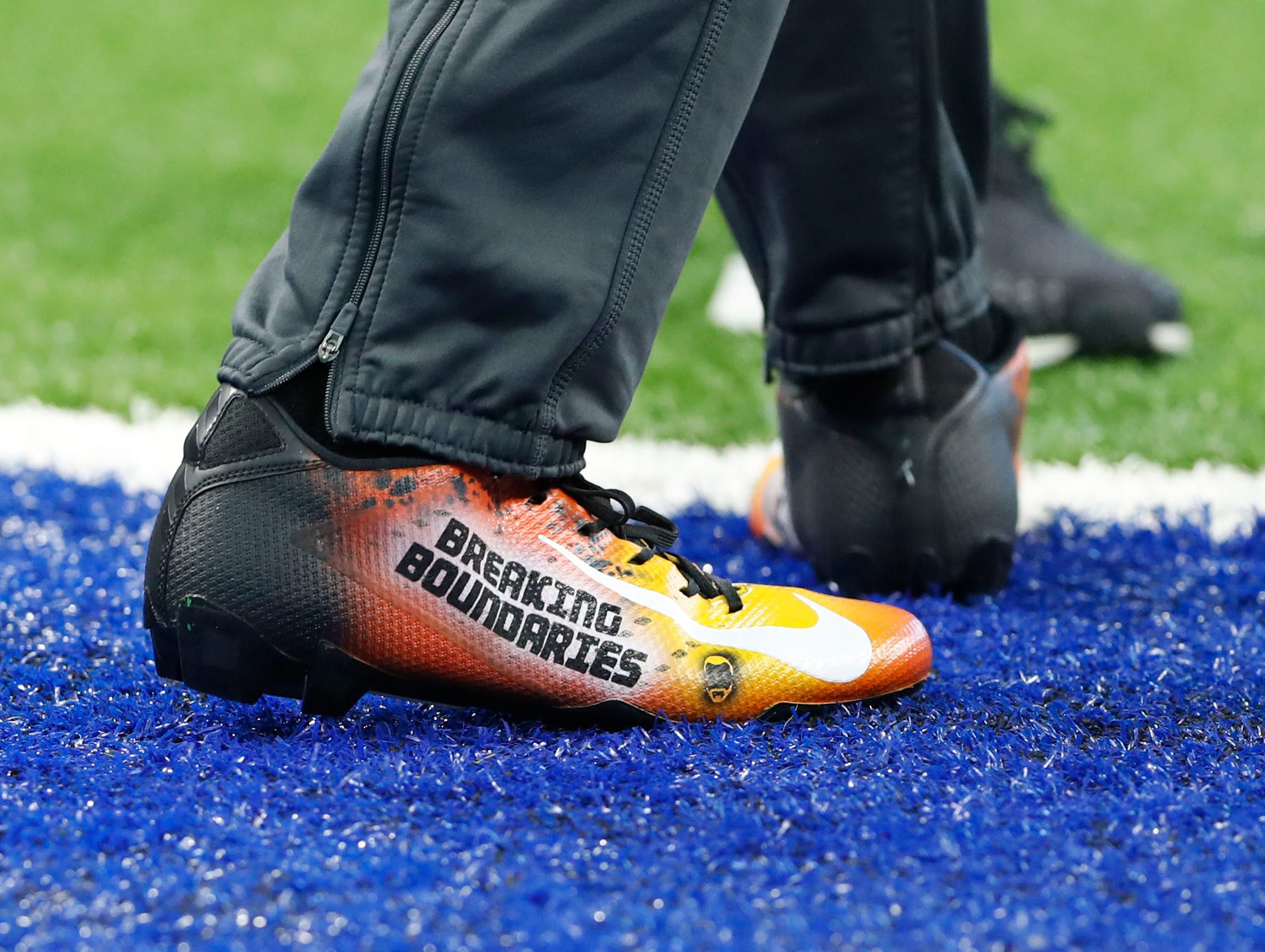 Indianapolis Colts cornerback Pierre Desir (35) and his My Cleats, My Cause before the start of their game against the Dallas Cowboys at Lucas Oil Stadium on Sunday, Dec. 16, 2018.