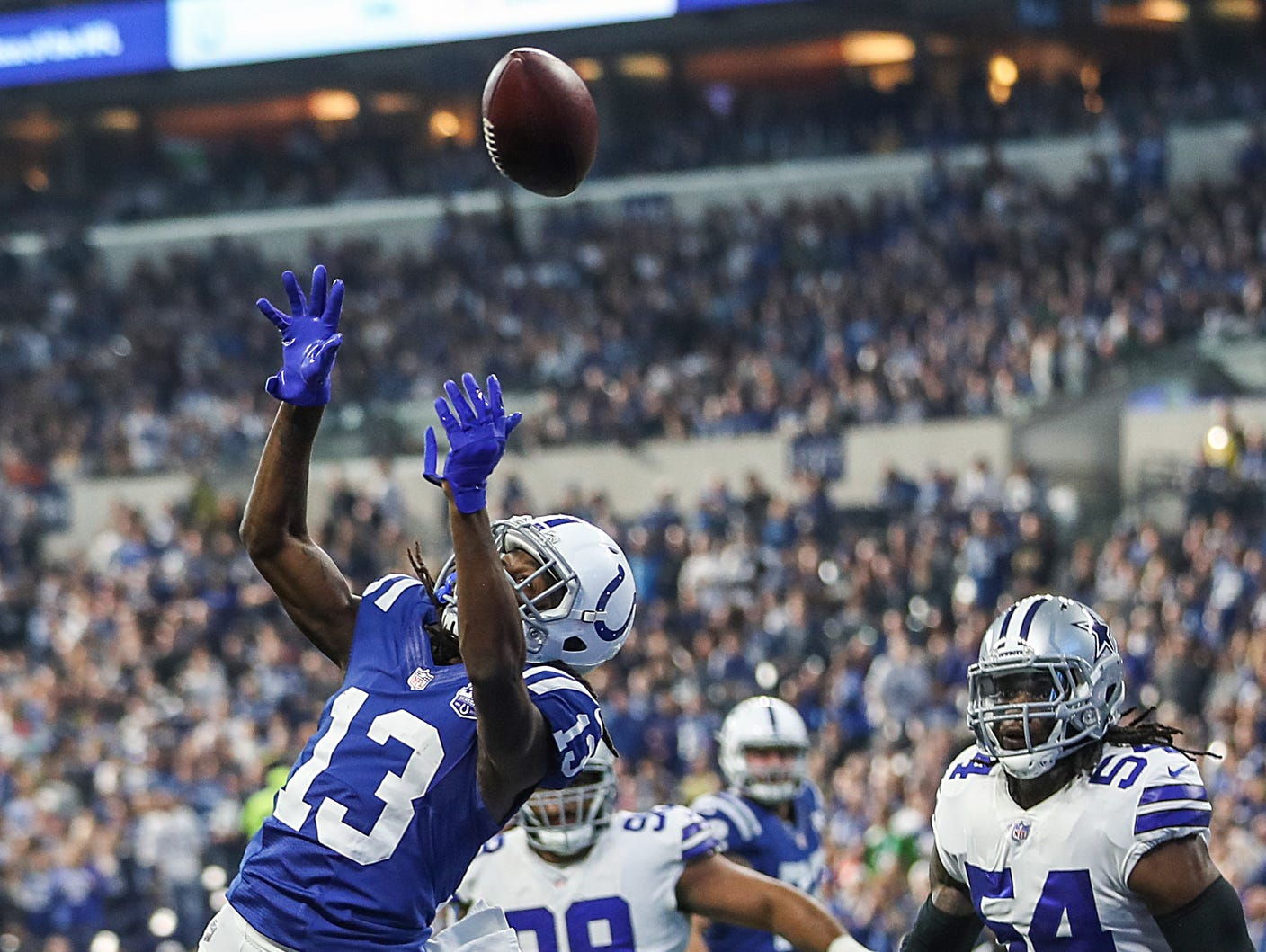Indianapolis Colts wide receiver T.Y. Hilton (13) is unable to receive a pass in the end zone in the first half of the game at Lucas Oil Stadium in Indianapolis, Sunday, Dec. 16, 2018. The Colts won, 23-0.