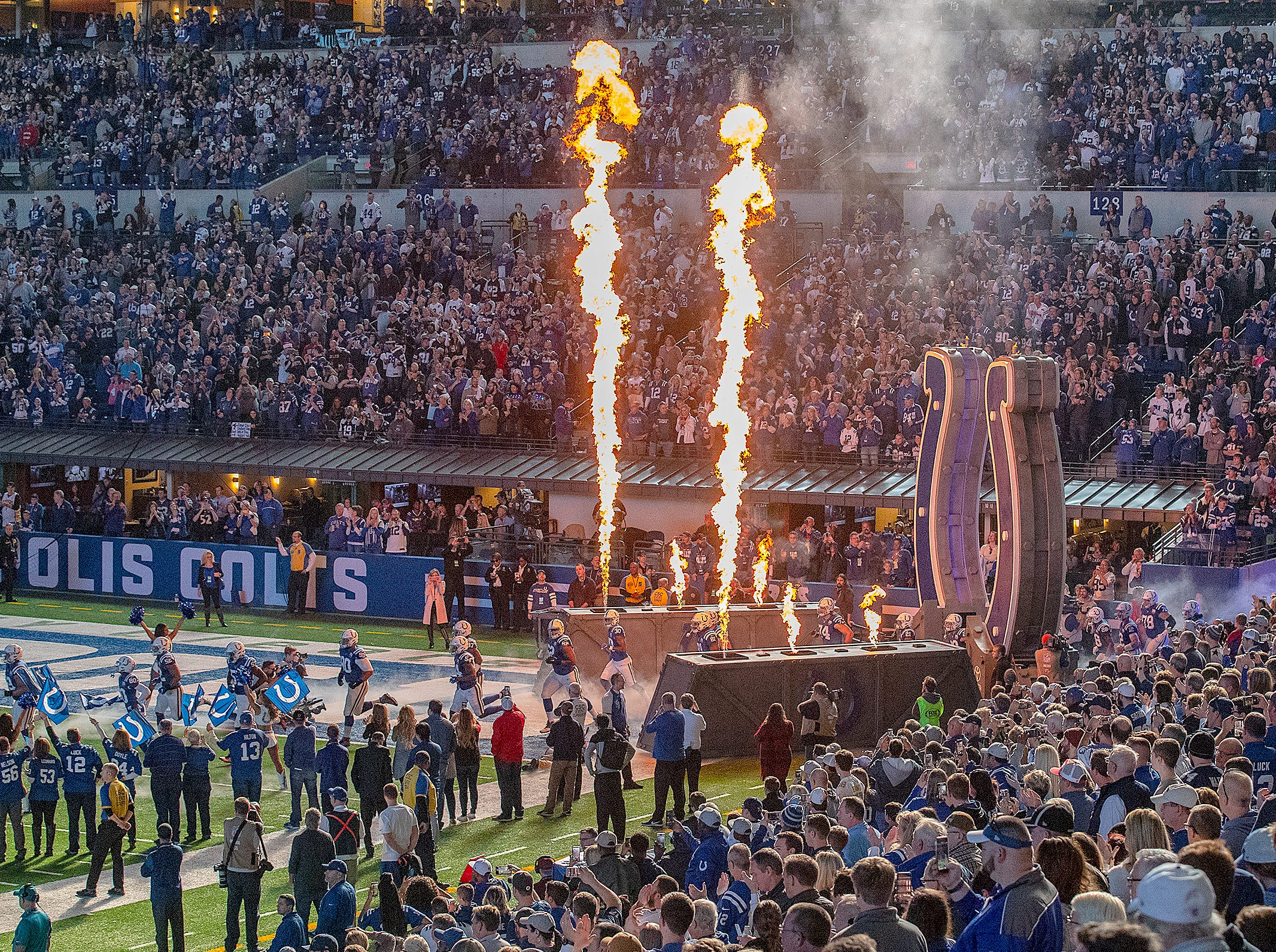 The Indianapolis Colts take the field to play the Dallas Cowboys at Lucas Oil Stadium on Sunday, Dec. 16, 2018.