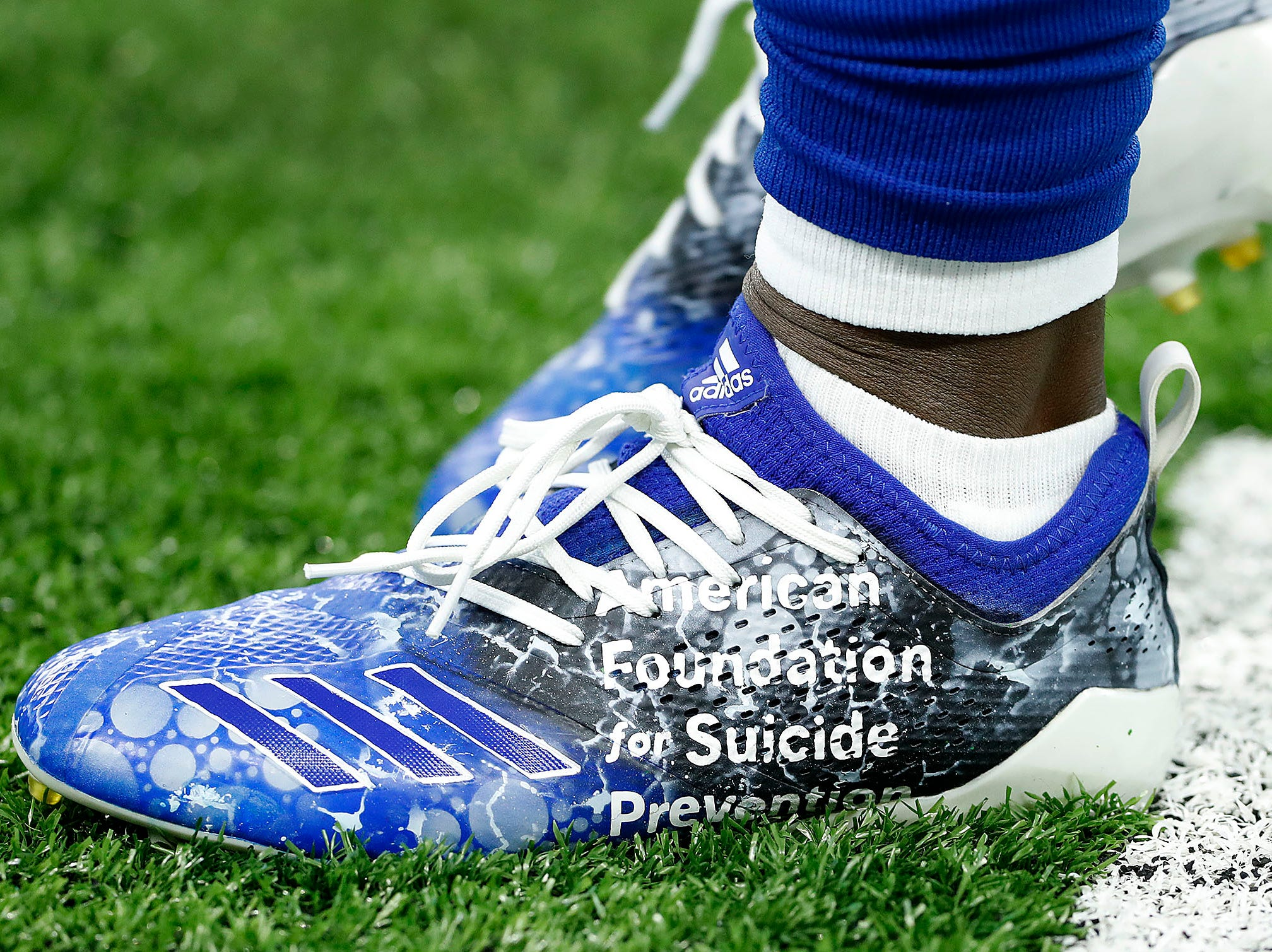 Indianapolis Colts wide receiver Chester Rogers (80) and his My Cleats, My Cause before the start of their game against the Dallas Cowboys at Lucas Oil Stadium on Sunday, Dec. 16, 2018.
