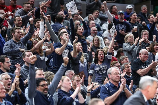 Butler Bulldogs fans go nuts over the team's lead in the second half of the Crossroads Classic game at Banker's Life Fieldhouse in Indianapolis, Saturday, Dec. 15, 2018. The Hoosiers won, 71-68.