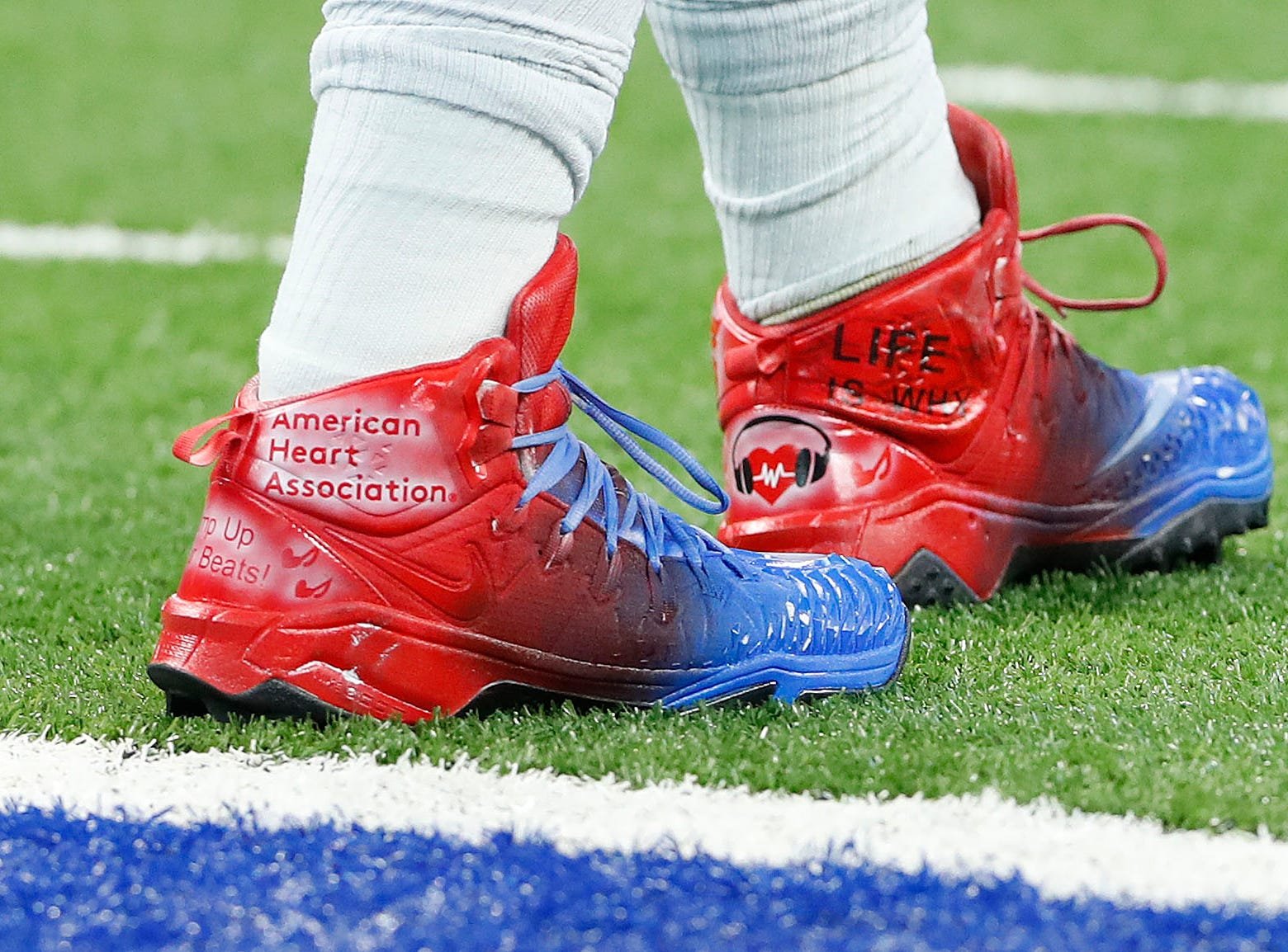 Indianapolis Colts offensive guard Evan Boehm (67) and his My Cleats, My Cause before the start of their game against the Dallas Cowboys at Lucas Oil Stadium on Sunday, Dec. 16, 2018.