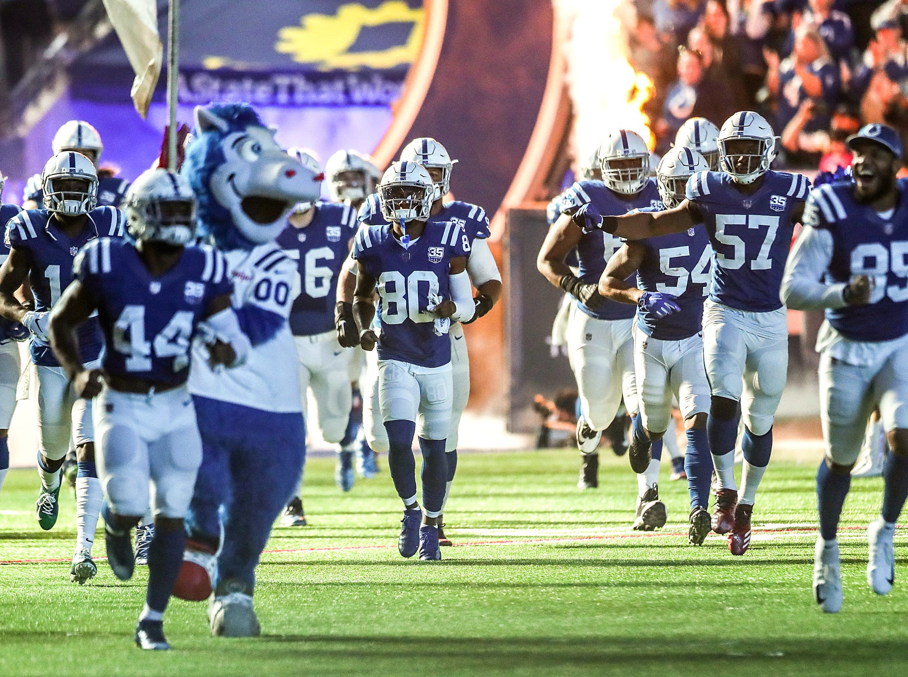 The Indianapolis Colts take the field to face the Dallas Cowboys in NFL week 15 at Lucas Oil Stadium in Indianapolis, Sunday, Dec. 16, 2018. The Colts won, 23-0.