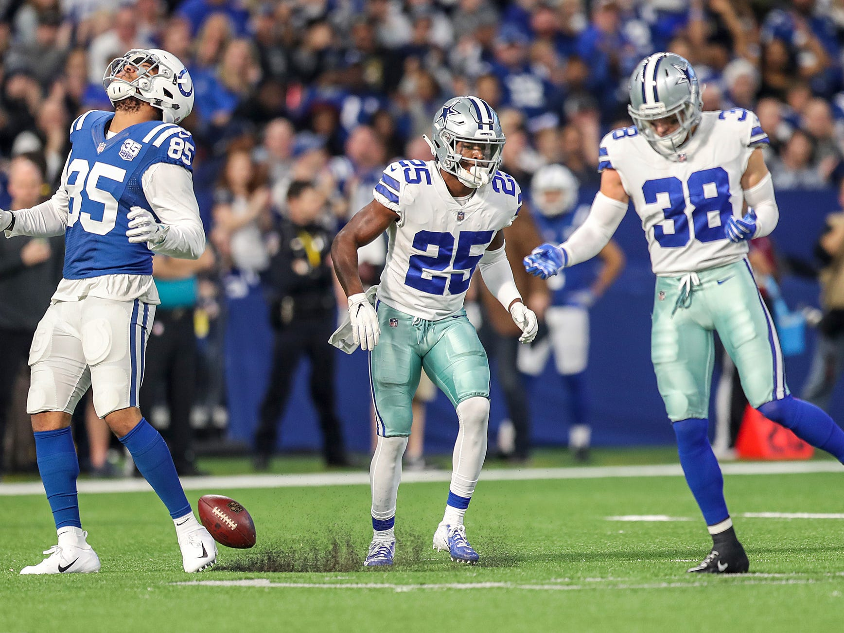 Indianapolis Colts tight end Eric Ebron (85) shows dejection after Dallas Cowboys strong safety Jeff Heath (38) kept him from receiving a pass in the first half of the game at Lucas Oil Stadium in Indianapolis, Sunday, Dec. 16, 2018.