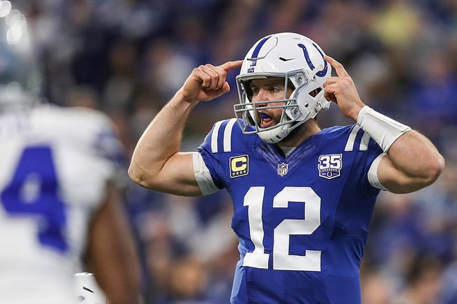Indianapolis Colts quarterback Andrew Luck is calculating his team's playoff odds in his head during Sunday's game against the Dallas Cowboys. There is better than a 70 percent chance they'll be playing Tennessee for a playoff berth on Dec. 30.