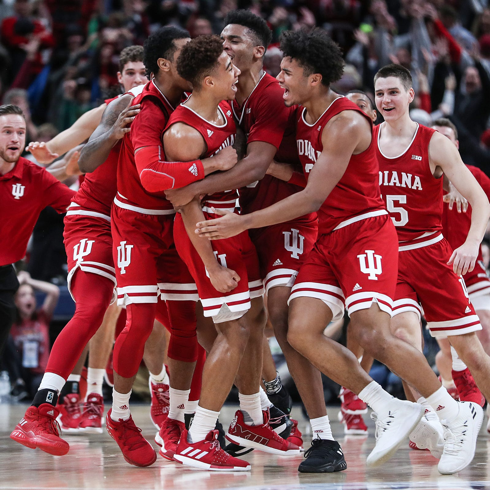 The Indiana Hoosiers celebrate after Rob Phinisee...