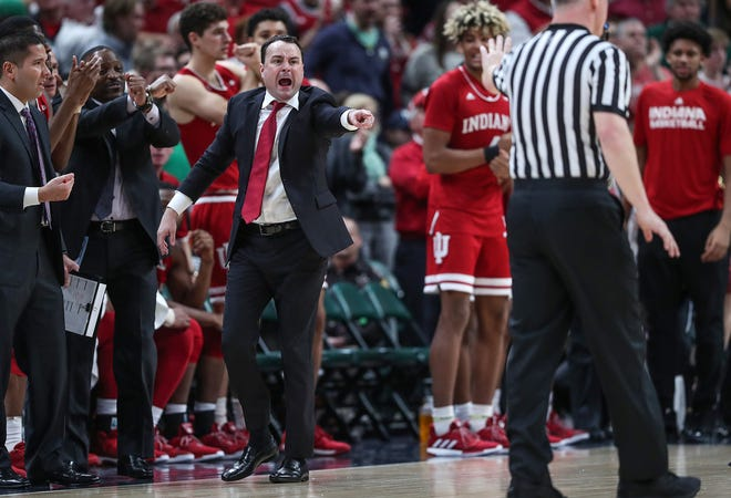 Indiana Hoosiers head coach Archie Miller shouts to the referee in the second half of the Crossroads Classic game against Butler at Banker's Life Fieldhouse in Indianapolis, Saturday, Dec. 15, 2018. The Hoosiers won, 71-68.