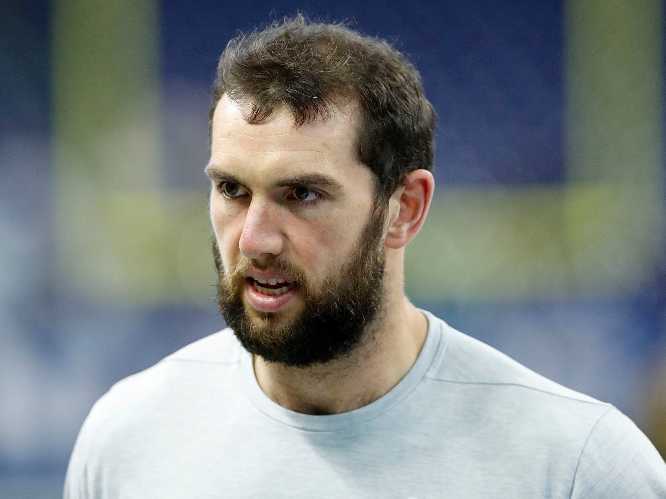Indianapolis Colts quarterback Andrew Luck (12) before the start of their game against the Dallas Cowboys at Lucas Oil Stadium on Sunday, Dec. 16, 2018.
