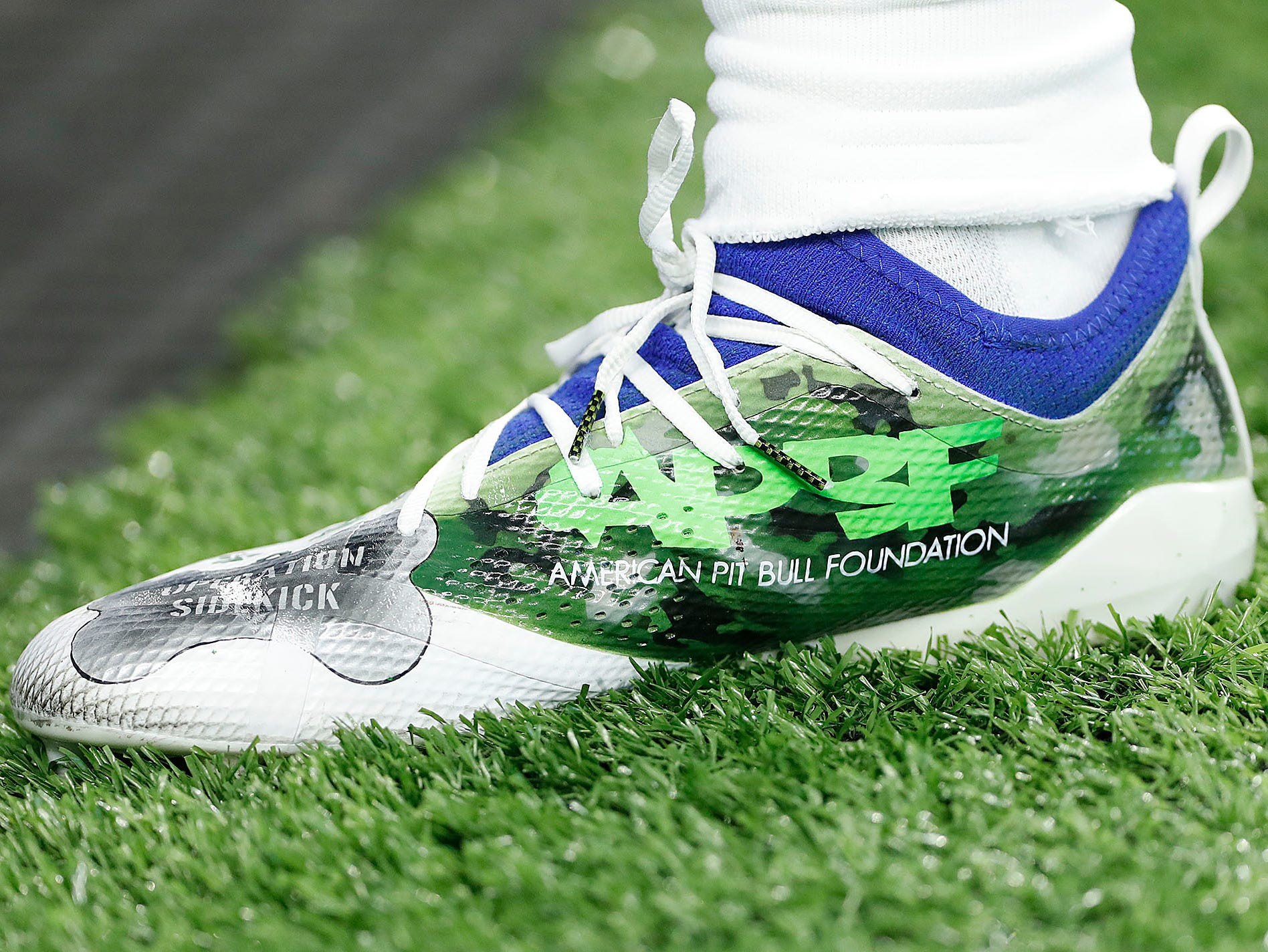 Indianapolis Colts outside linebacker Matthew Adams (49) and his My Cleats, My Cause before the start of their game against the Dallas Cowboys at Lucas Oil Stadium on Sunday, Dec. 16, 2018.