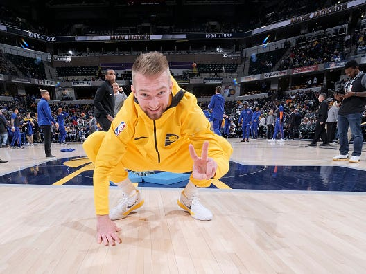 INDIANAPOLIS, IN - DECEMBER 16: Domantas Sabonis #11 of the Indiana Pacers stretches prior to a game against the New York Knicks on December 16, 2018 at Bankers Life Fieldhouse in Indianapolis, Indiana.