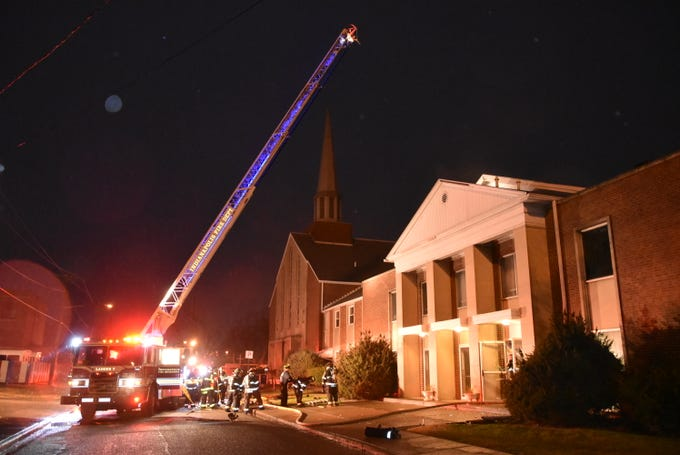 Fire broke out at the end of a Boy Scout meeting at New Bethel Missionary Baptist Church on Saturday