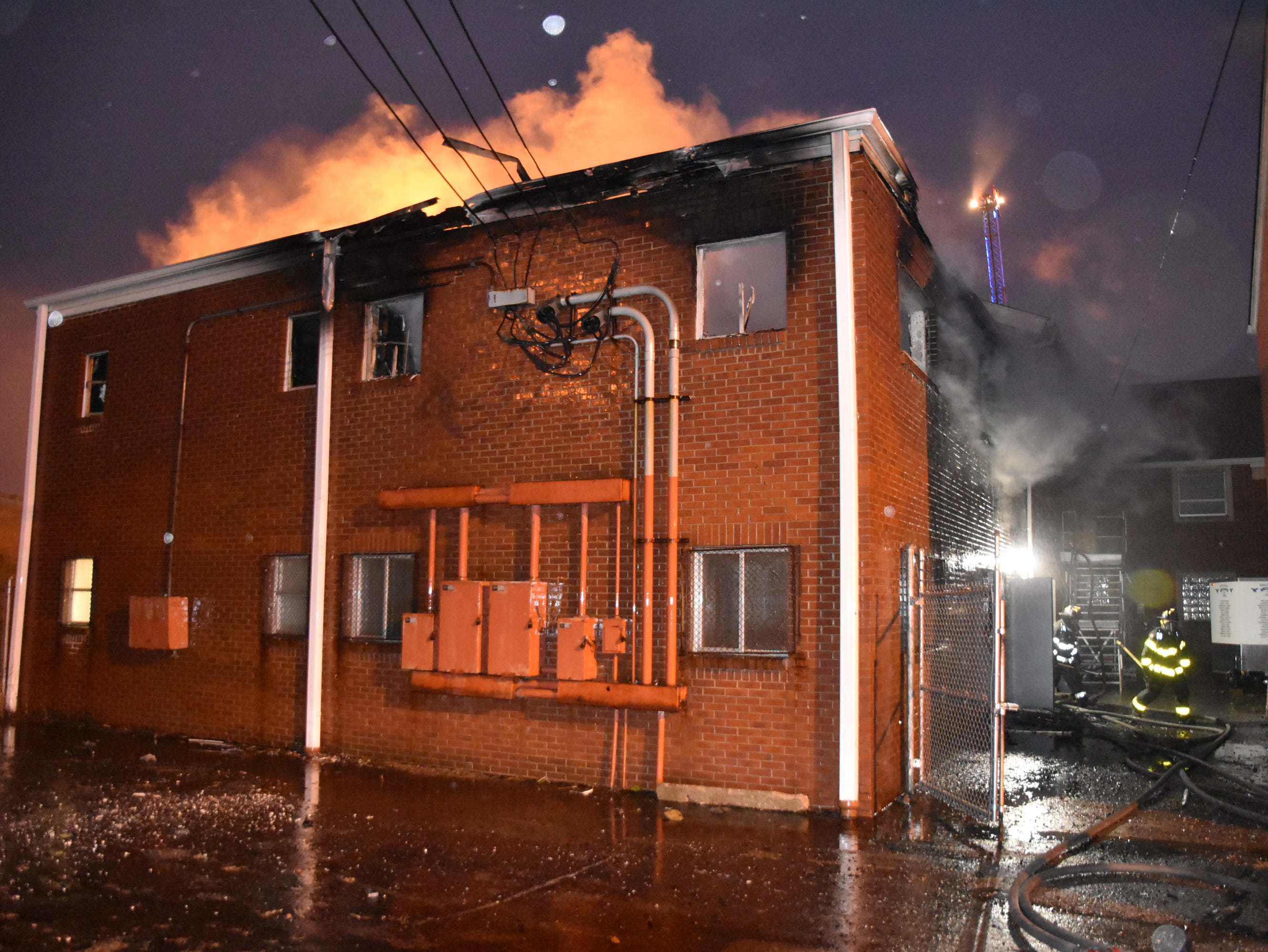 Fire damages the Fellowship Hall of New Bethel Missionary Baptist Church on Saturday.