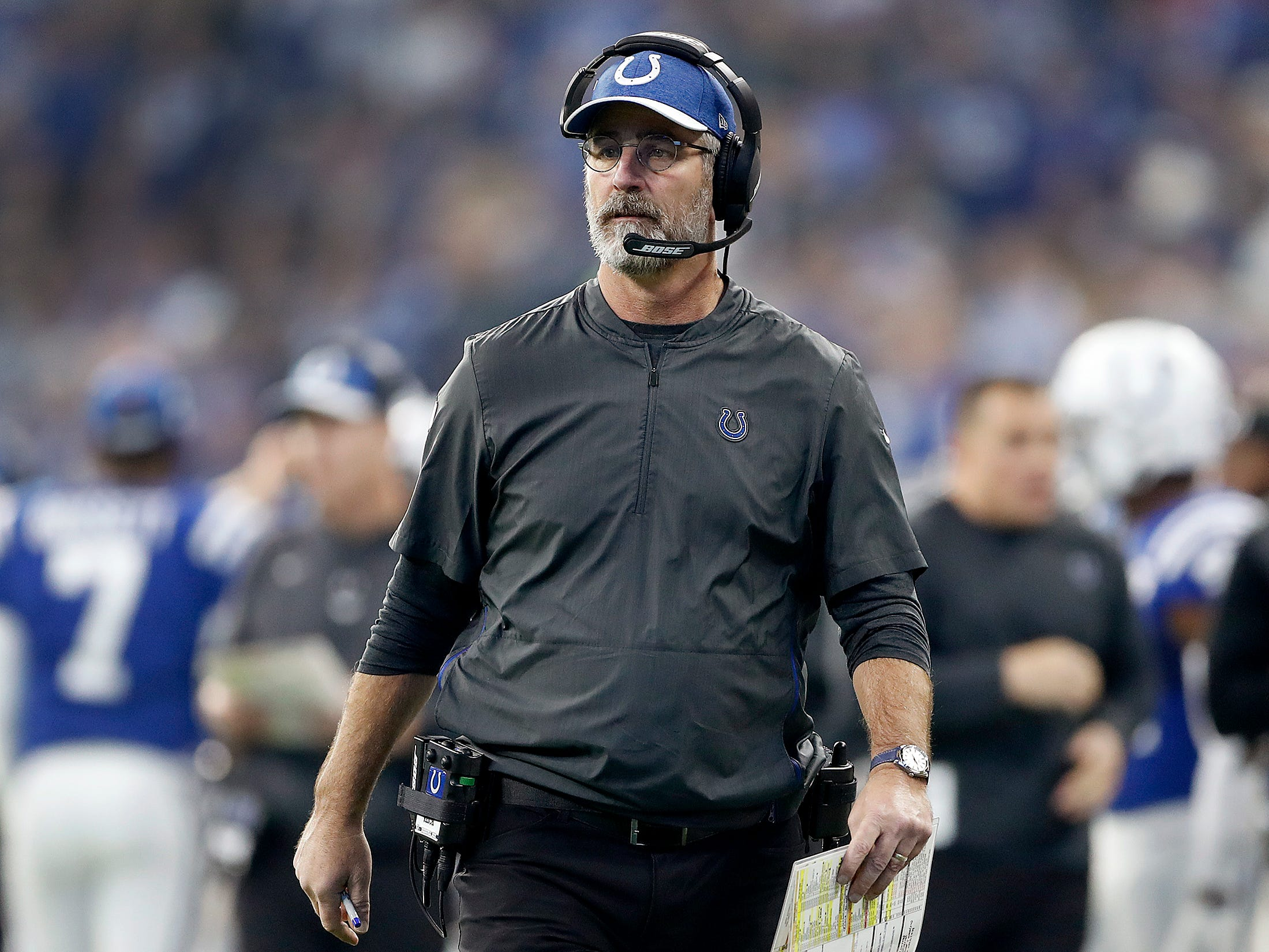 Indianapolis Colts head coach Frank Reich in the first half of their game at Lucas Oil Stadium on Sunday, Dec. 16, 2018.