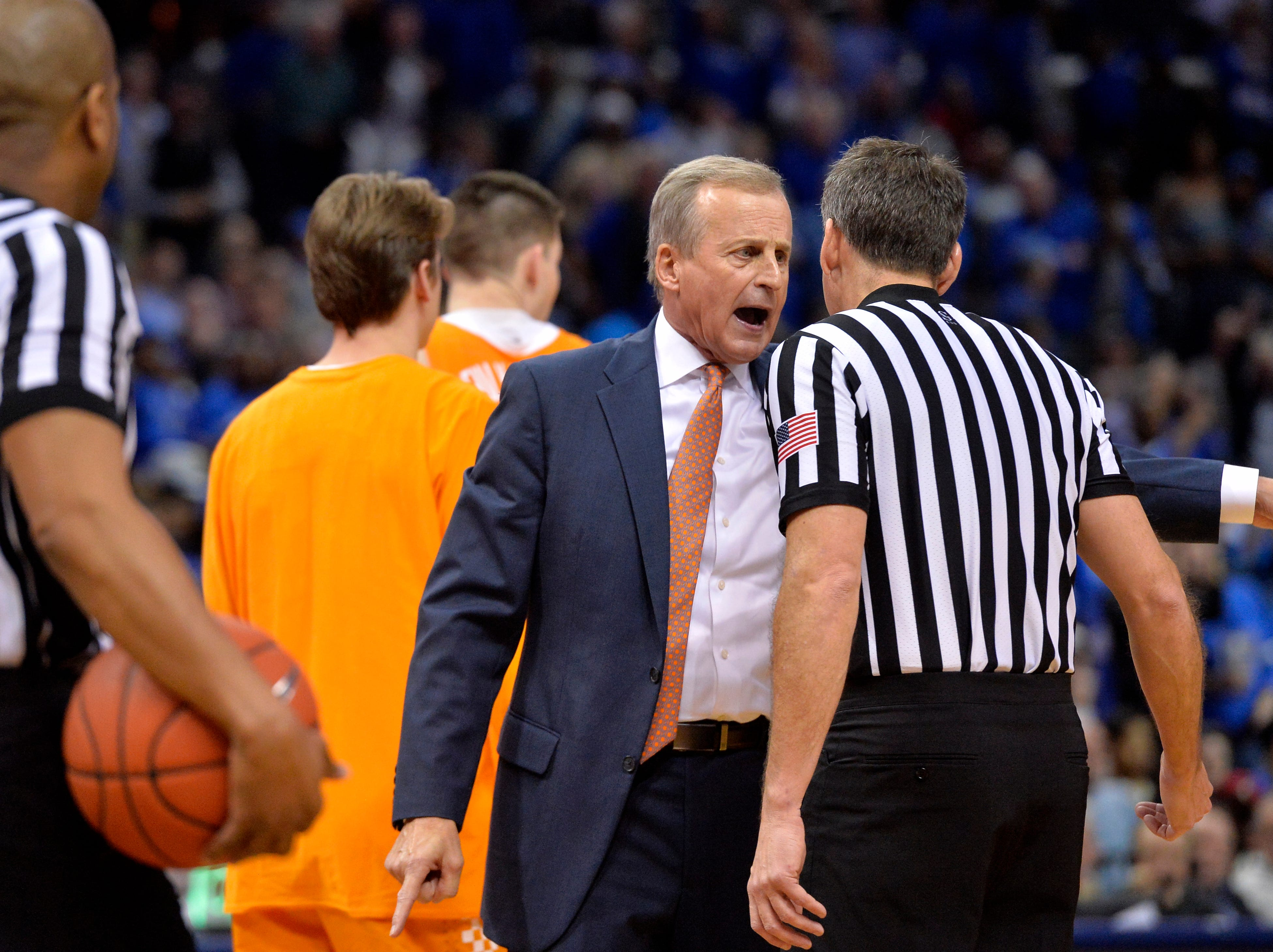 Tennessee head coach Rick Barnes reacts to a referee's call in the second half of an NCAA college basketball game against Memphis Saturday, Dec. 15, 2018, in Memphis, Tenn.
