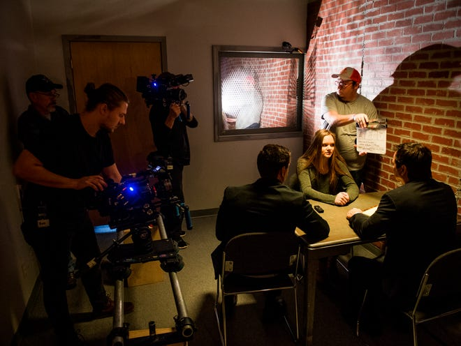 """A film crew begins shooting a scene for the true crime show """"Snapped"""" at Jupiter Entertainment's West Knoxville warehouse on Friday, December 7, 2018."""