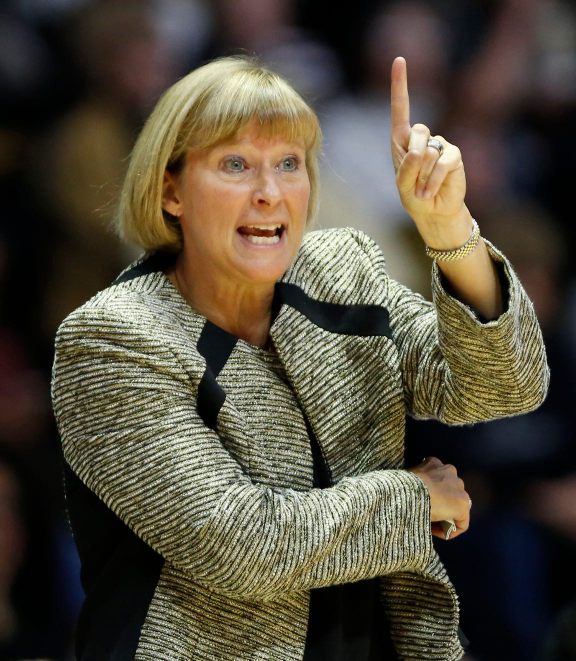 Purdue head coach Sharon Versyp calls out a play as the Boilermakers battle South Carolina Sunday, December 16, 2018, at Mackey Arena. Purdue lost a heart breaker to South Carolina 82-73 2OT.