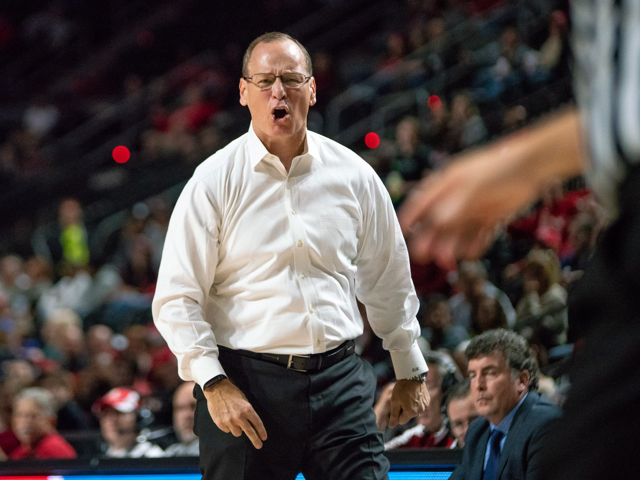 UL's head basketball coach Bob Marlin reacting negatively to a call as the Ragin' Cajuns take on the LA Tech Bulldogs at the Cajundome on December 15, 2018.