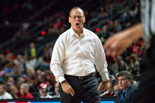 UL coach Bob Marlin reacts negatively to a call in a game against Louisiana Tech last month.