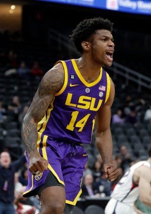 LSU's Marlon Taylor reacts after scoring during Saturday's game against Saint Mary's in Las Vegas.