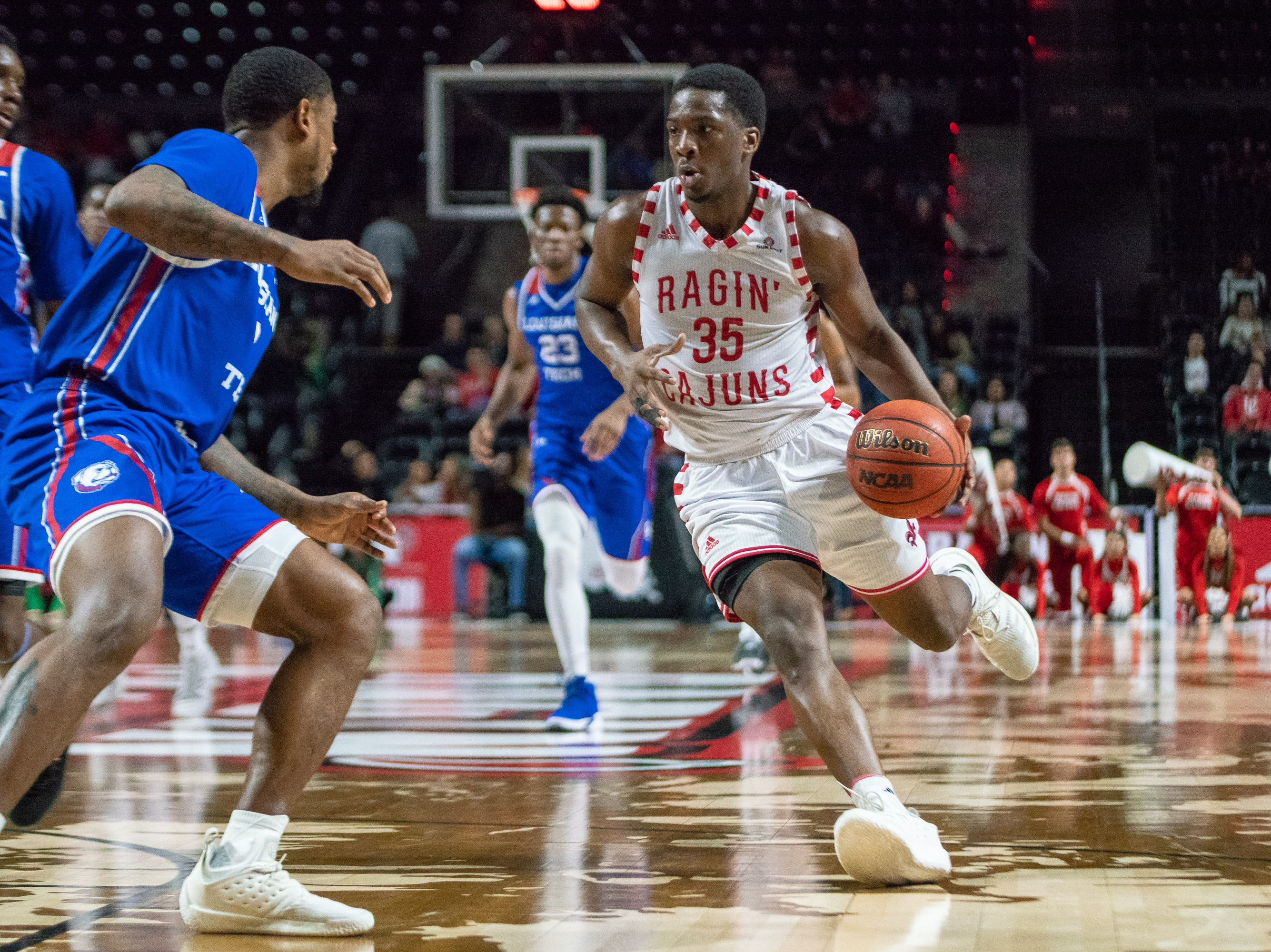 UL's Marcus Stroman dribbles to the goal as the Ragin' Cajuns take on the LA Tech Bulldogs at the Cajundome on December 15, 2018.