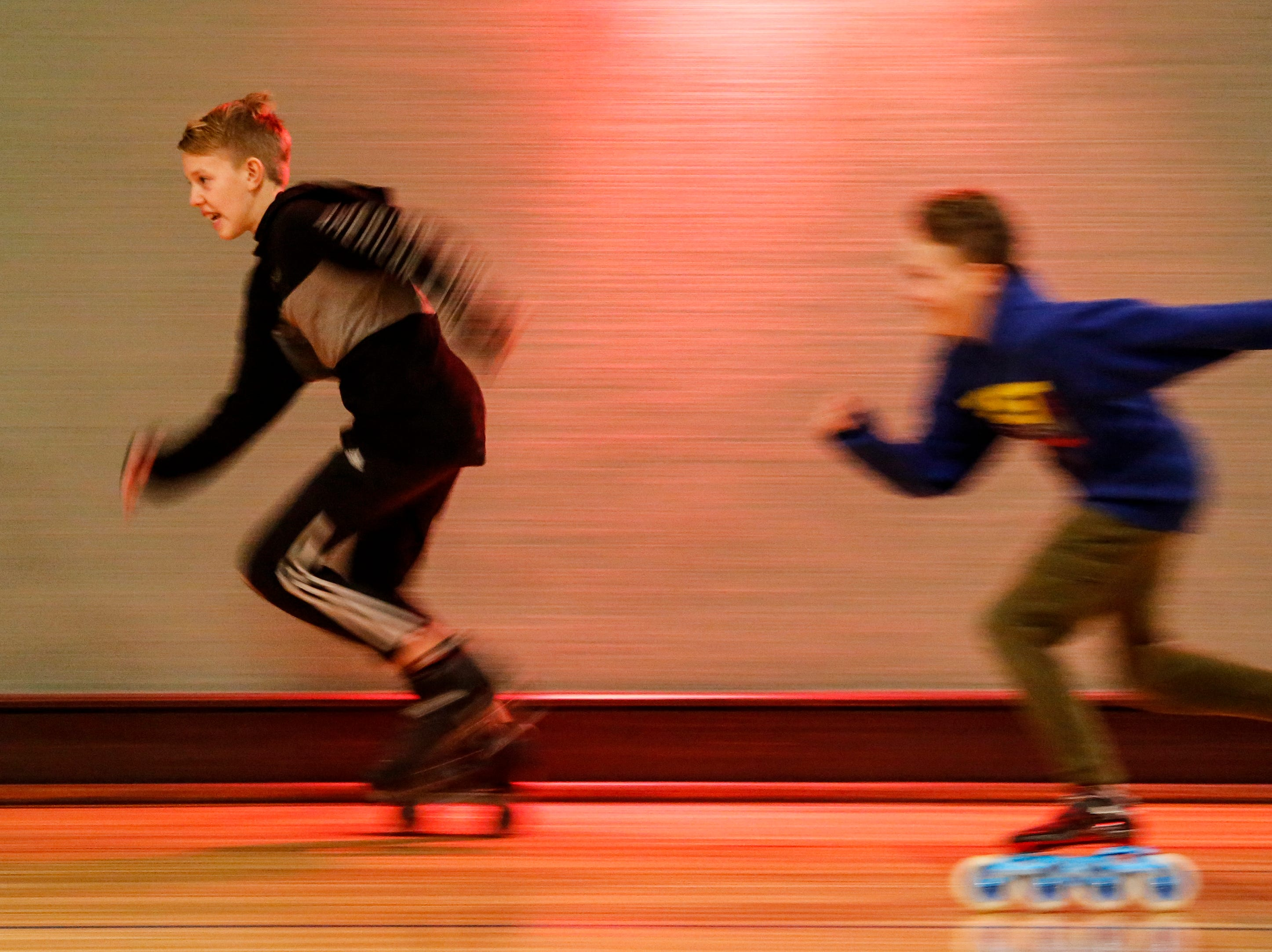 Boys race during the 20th annual Santa Skate at Rollaire Skate Center Saturday, December 15, 2018, in Manitowoc, Wis. Joshua Clark/USA TODAY NETWORK-Wisconsin