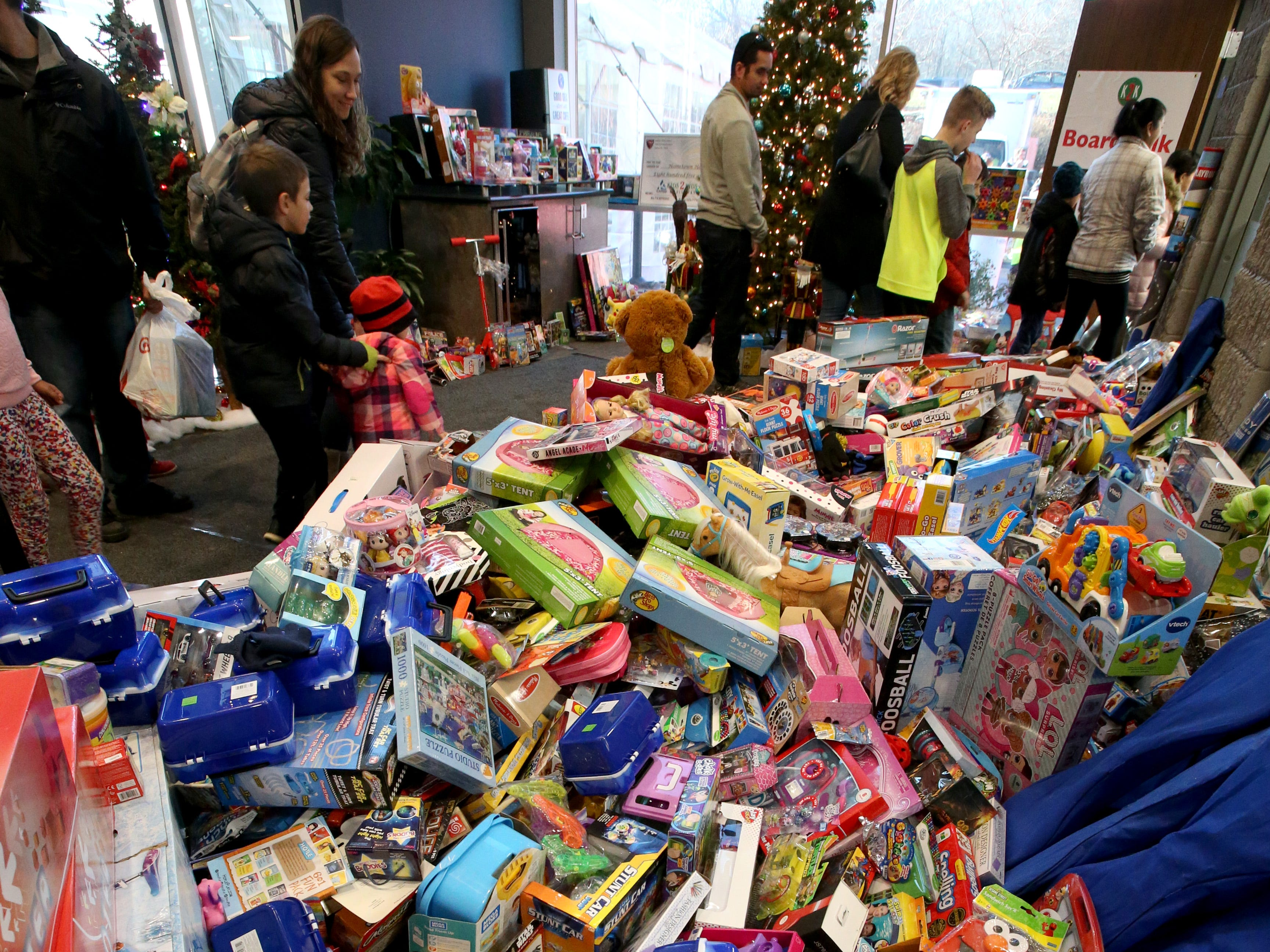 A common area filled with toys on display at the Kids2Kids Christmas celebration at Kapco Metal Stamping in Grafton on Dec. 15 that concluded a month-long toy drive that collected more than 22,000 toys to be distributed to children in Ozaukee and Milwaukee counties.