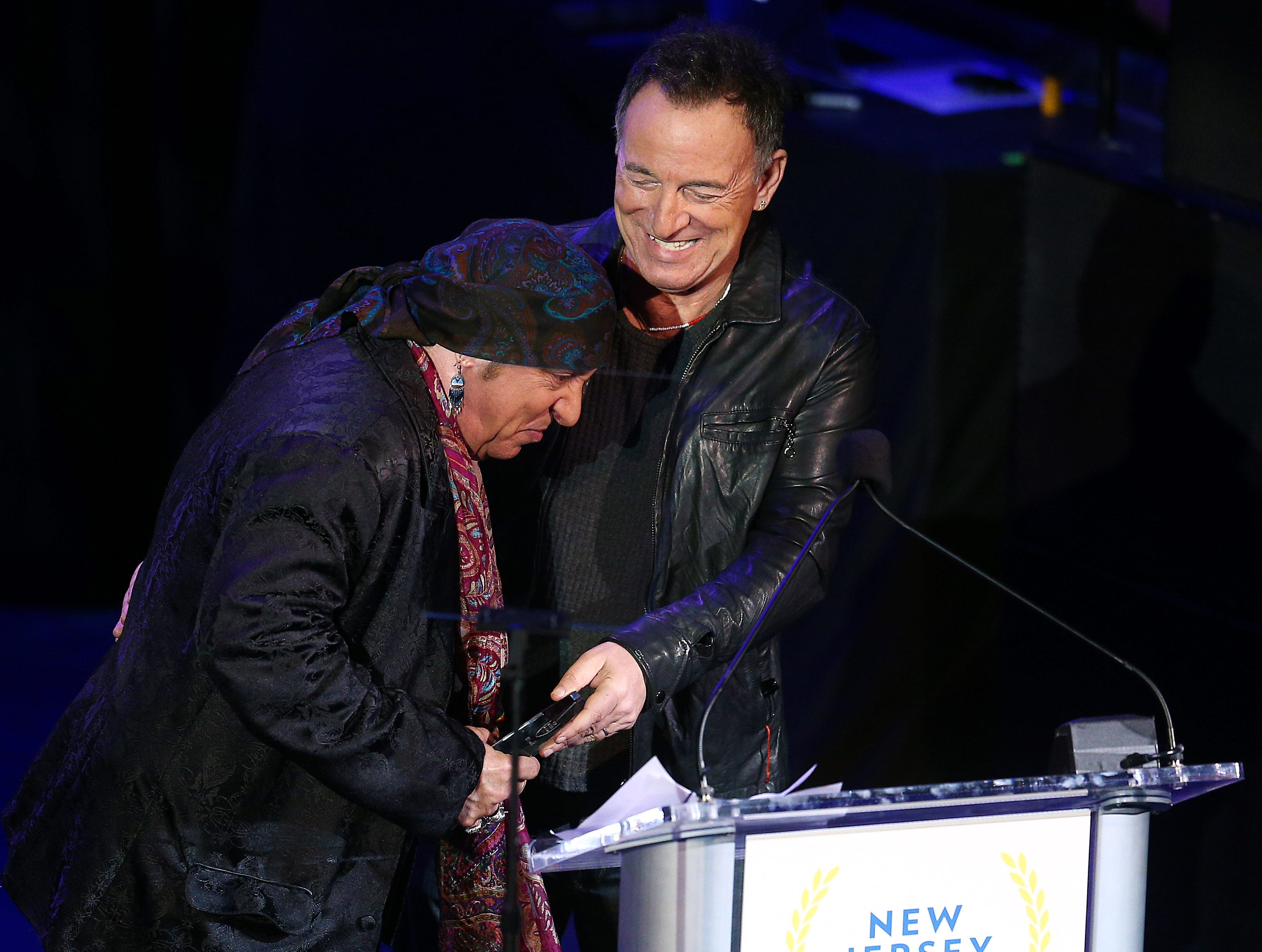 Bruce Springsteen inducts friend musician and actor Steven Van Zandt,  receiving his Performing Arts award during the 