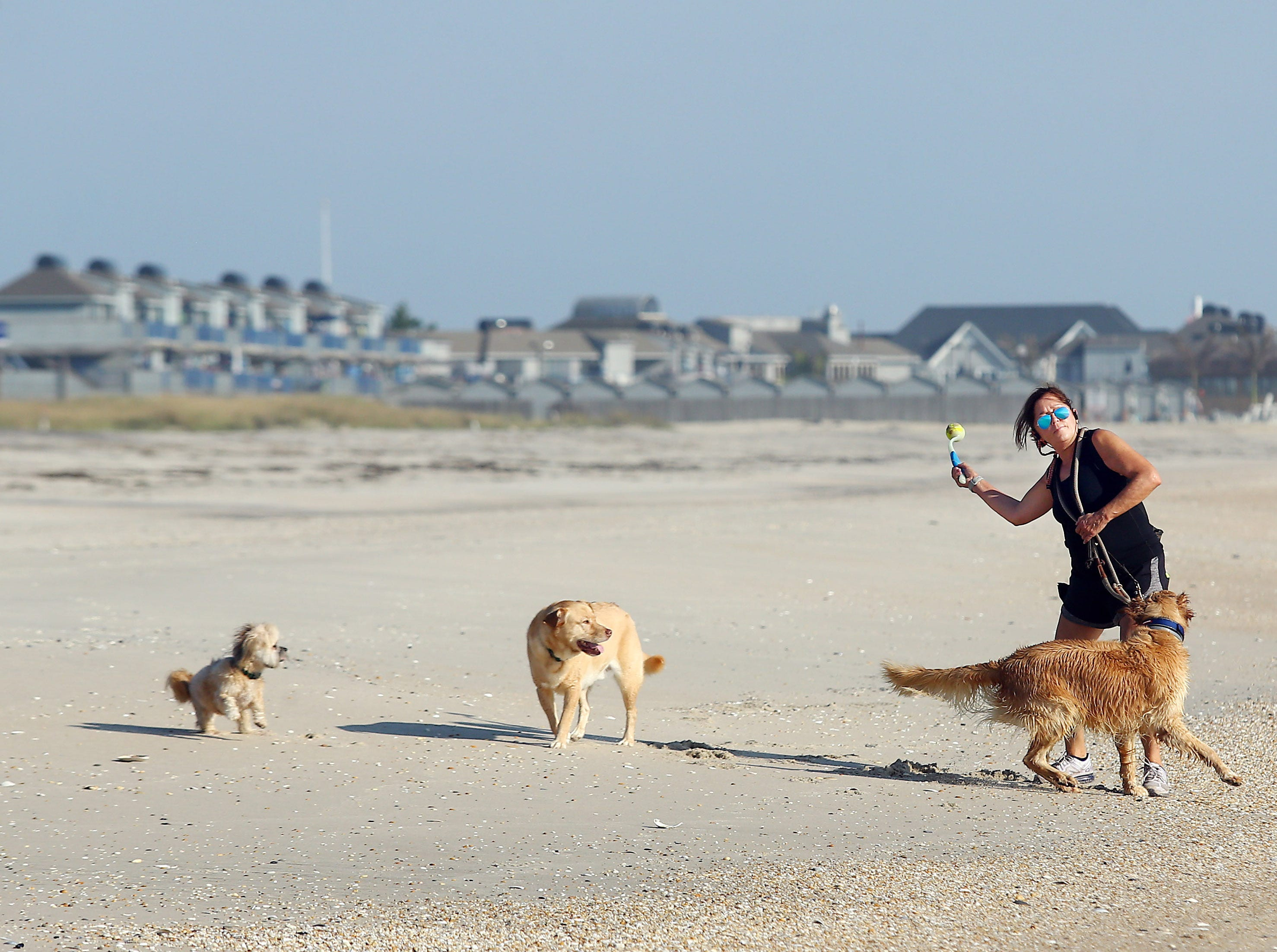 Marjorie Jonasson of Monmouth Beach throws a ball to her dog on a beautiful morning on Monmouth Beach. Summer shore guide. September 19, 2018, Monmouth Beach, NJ