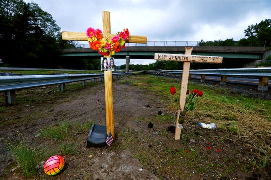 A roadside memorial for Miranda Vargas, 10, and Jennifer Williamson-Kennedy on the median of Route 80 in Mount Olive. School bus driver Hudy Muldrow Sr. 77, of Woodland Park was charged with two counts of vehicular homicide, for allegedly driving recklessly, causing the deaths of the two bus passengers. June 3, 2018. Mount Olive, NJ