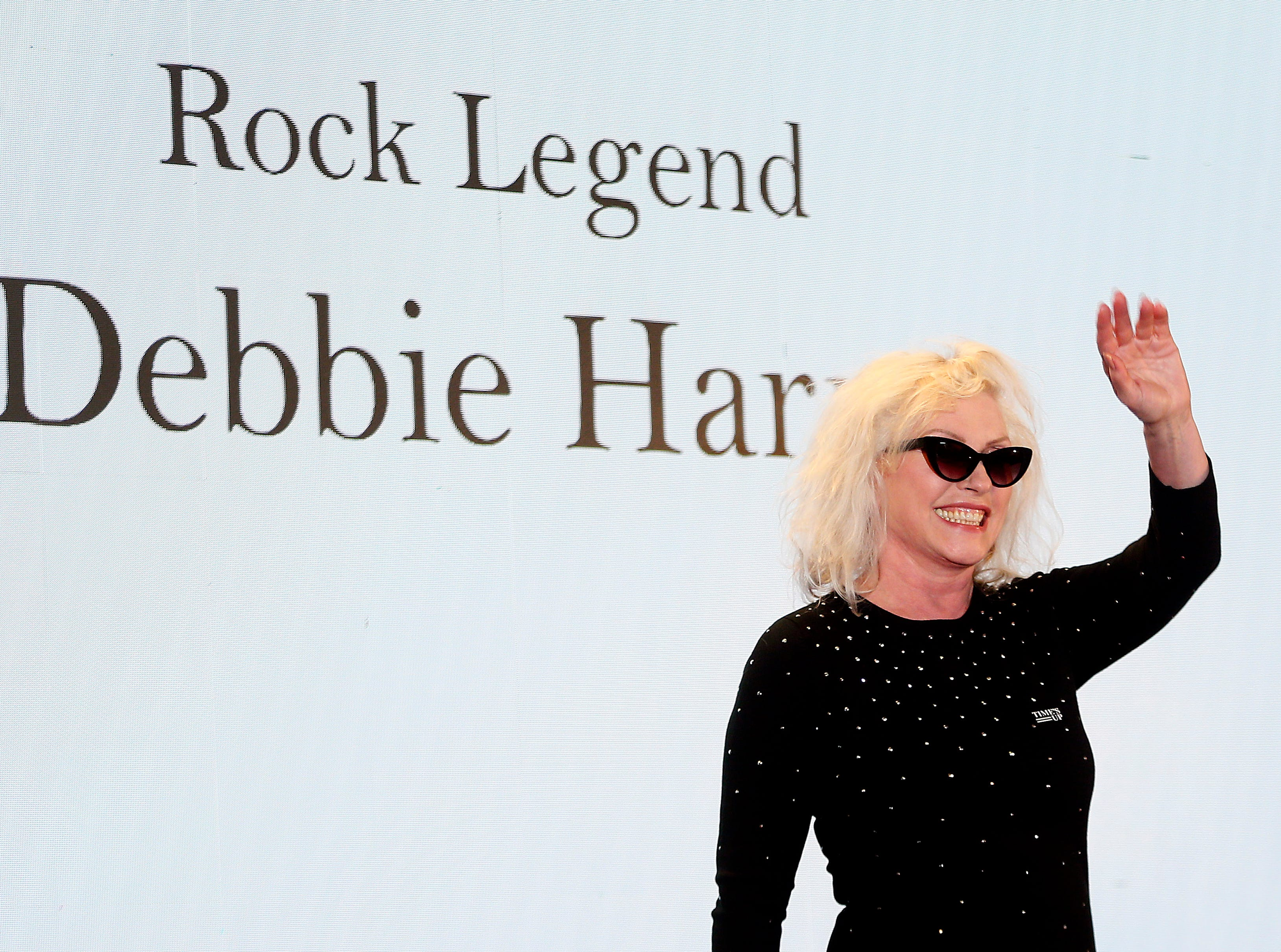 Singer-songwriter Debbie Harry of the band Blondie walks the red carpet at the 10th Anniversary Induction Ceremony of the New Jersey Hall of Fame at the Paramount Theater in Convention Hall, Asbury Park. May 6, 2018. Asbury Park, NJ  May 6, 2018. Asbury Park, NJ