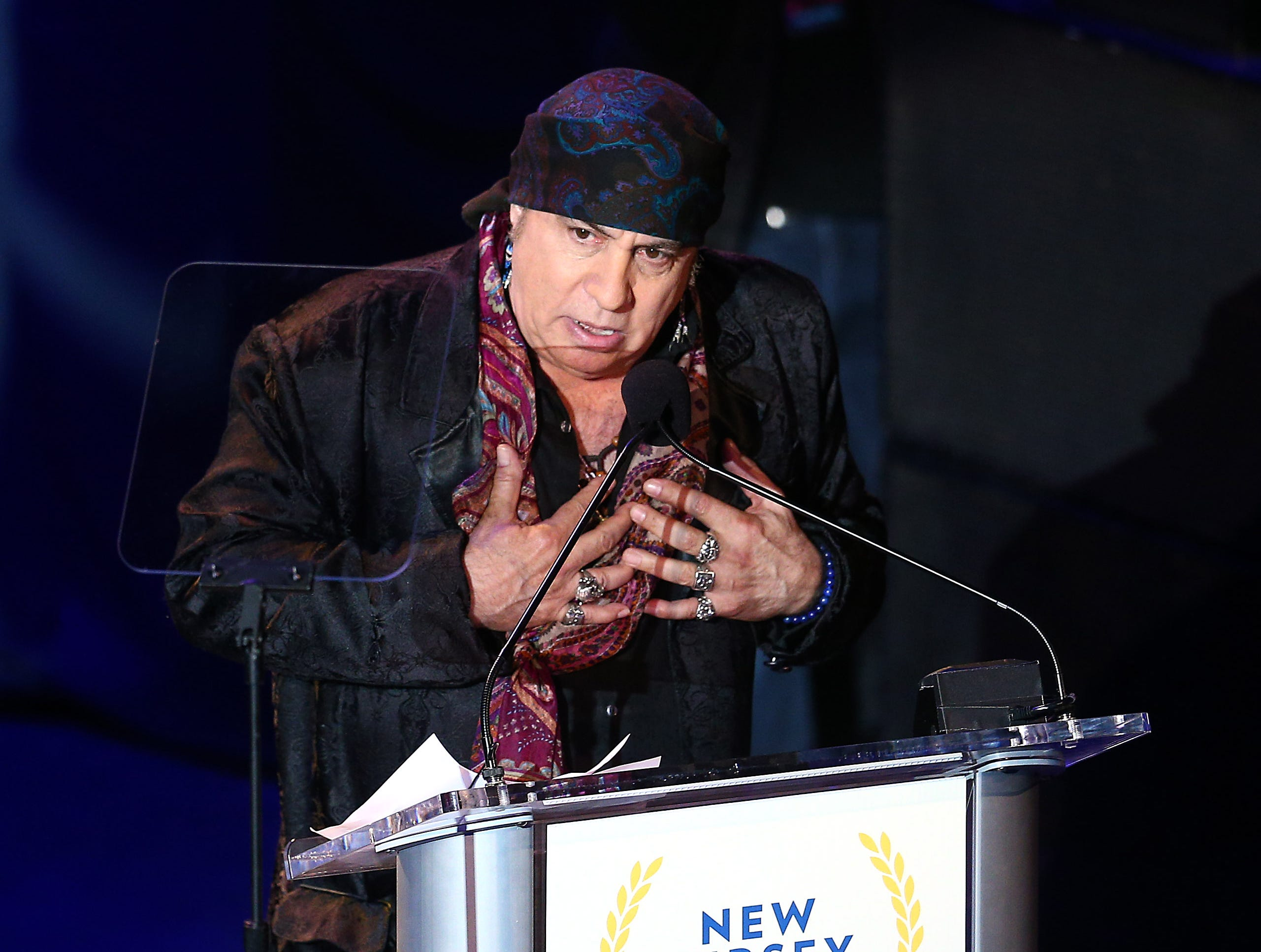 Musician and actor Steven Van Zandt gives thanks after receiving his Performing Arts award from Bruce Springsteen during the 10th Anniversary Induction Ceremony of the New Jersey Hall of Fame at the Paramount Theater in Convention Hall, Asbury Park. May 6, 2018. Asbury Park, NJ