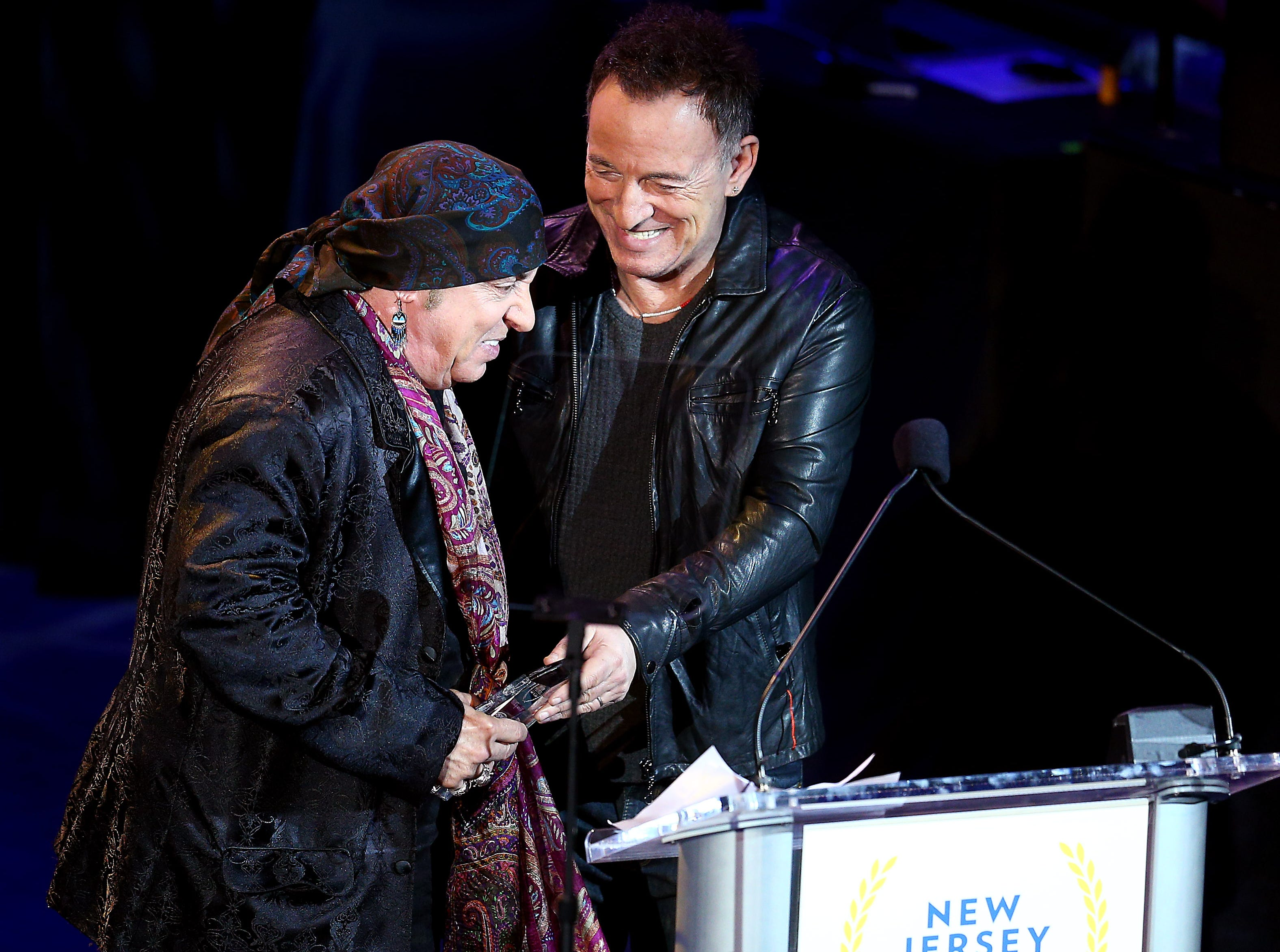 Musician and actor Steven Van Zandt receives his Performing Arts award from Bruce Springsteen during the 10th Anniversary Induction Ceremony of the New Jersey Hall of Fame at the Paramount Theater in Convention Hall, Asbury Park. May 6, 2018. Asbury Park, NJ