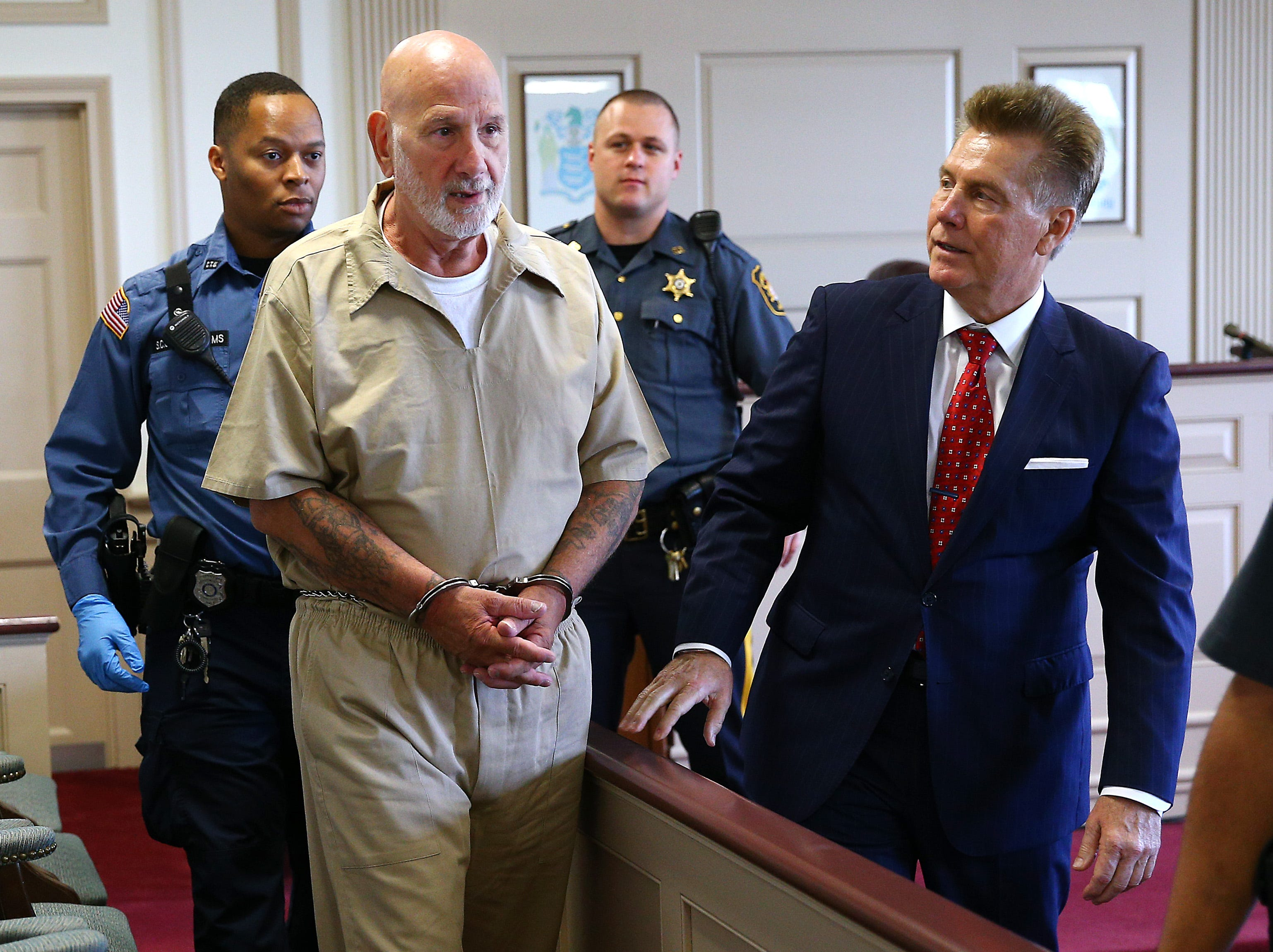 James Koedatich walks into Morris County Superior Court beside attorney Edward Bilinkas. The convicted murderer wants his DNA tested to prove he did not rape and murder Parsippany teenager Amie Hoffman in 1982. July 16, 2018. Morristown, New Jersey