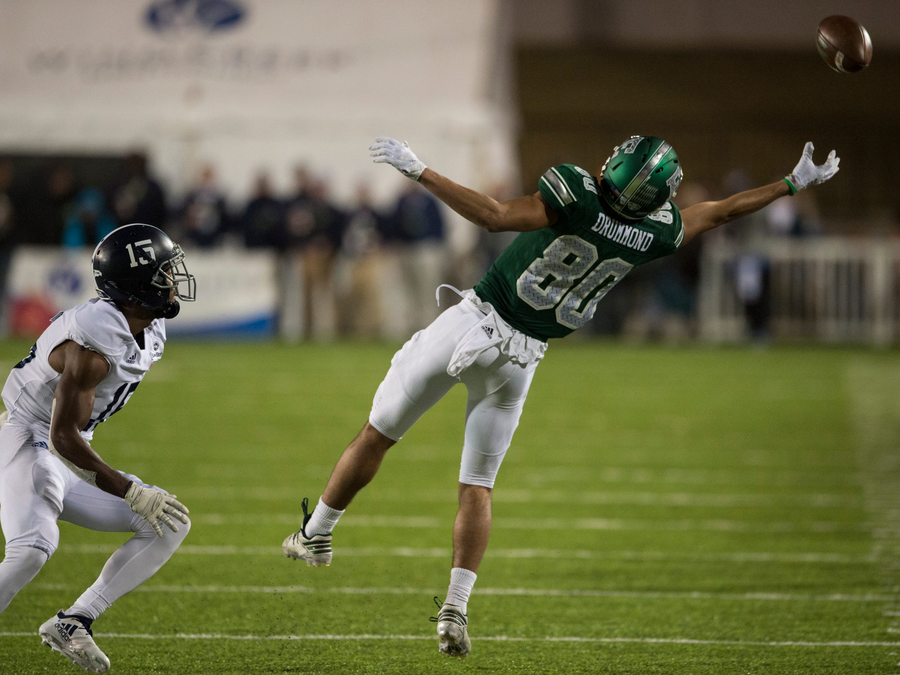 Eastern Michigan wide receiver Dylan Drummond (80) stretches out for a pass just wide of his grasp during the Camellia Bowl at Cramton Bowl in Montgomery, Ala., on Saturday, Dec. 15, 2018. Georgia Southern defeated Eastern Michigan 23-21.