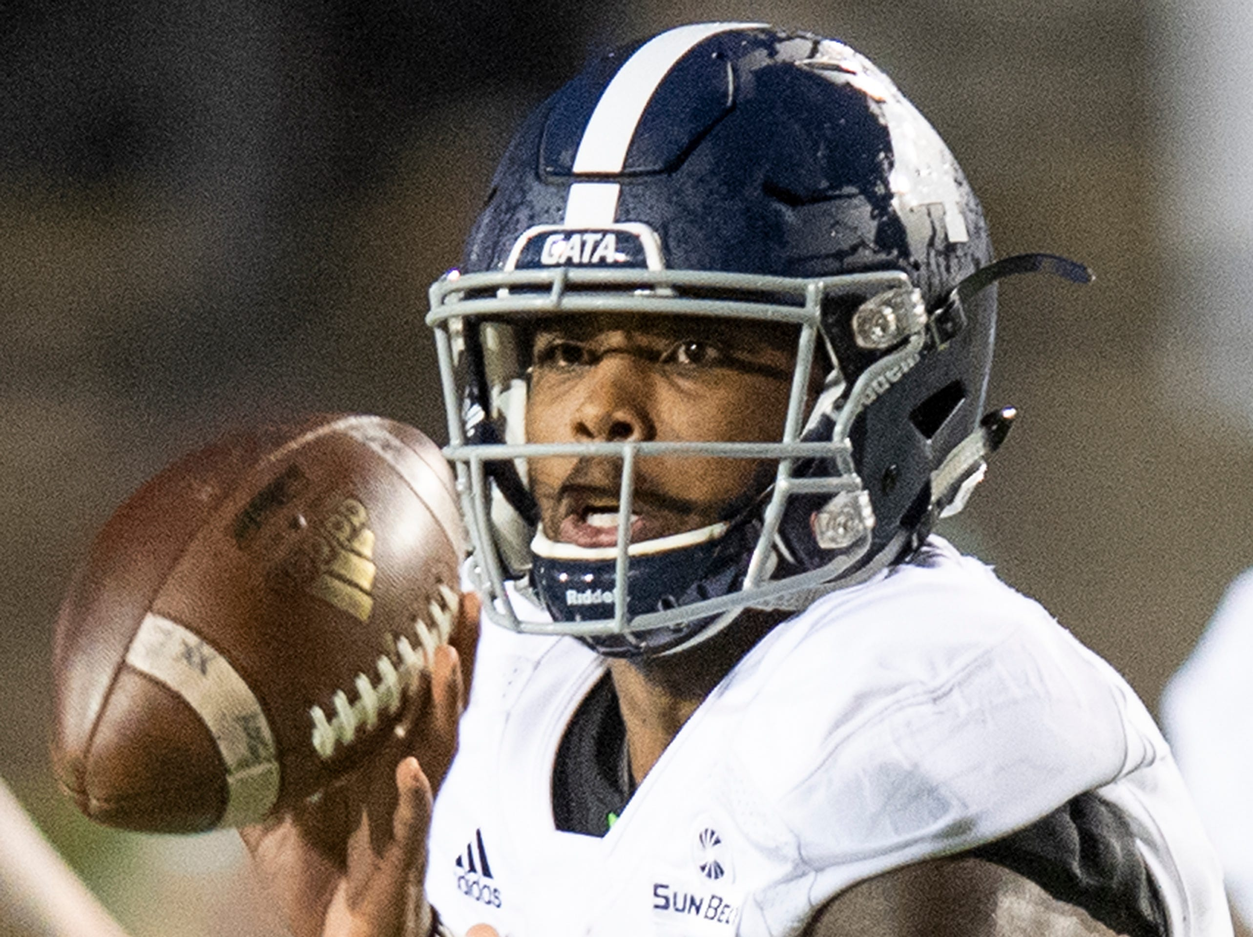 Georgia Southern quarterback Shai Werts (4)  pitches out the ball against Eastern Michigan during first half action in the Raycom Media  Camellia Bowl held at Cramton Bowl in Montgomery, Ala., on Saturday December 15, 2018.
