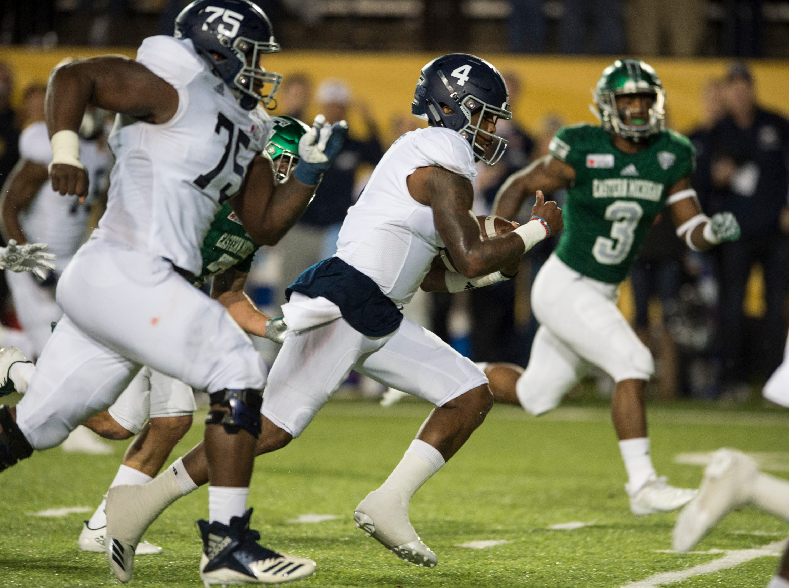Georgia Southern quarterback Shai Werts (4) runs into the end zone for a touchdown during the Camellia Bowl at Cramton Bowl in Montgomery, Ala., on Saturday, Dec. 15, 2018. Georgia Southern leads Eastern Michigan 17-7 at halftime.