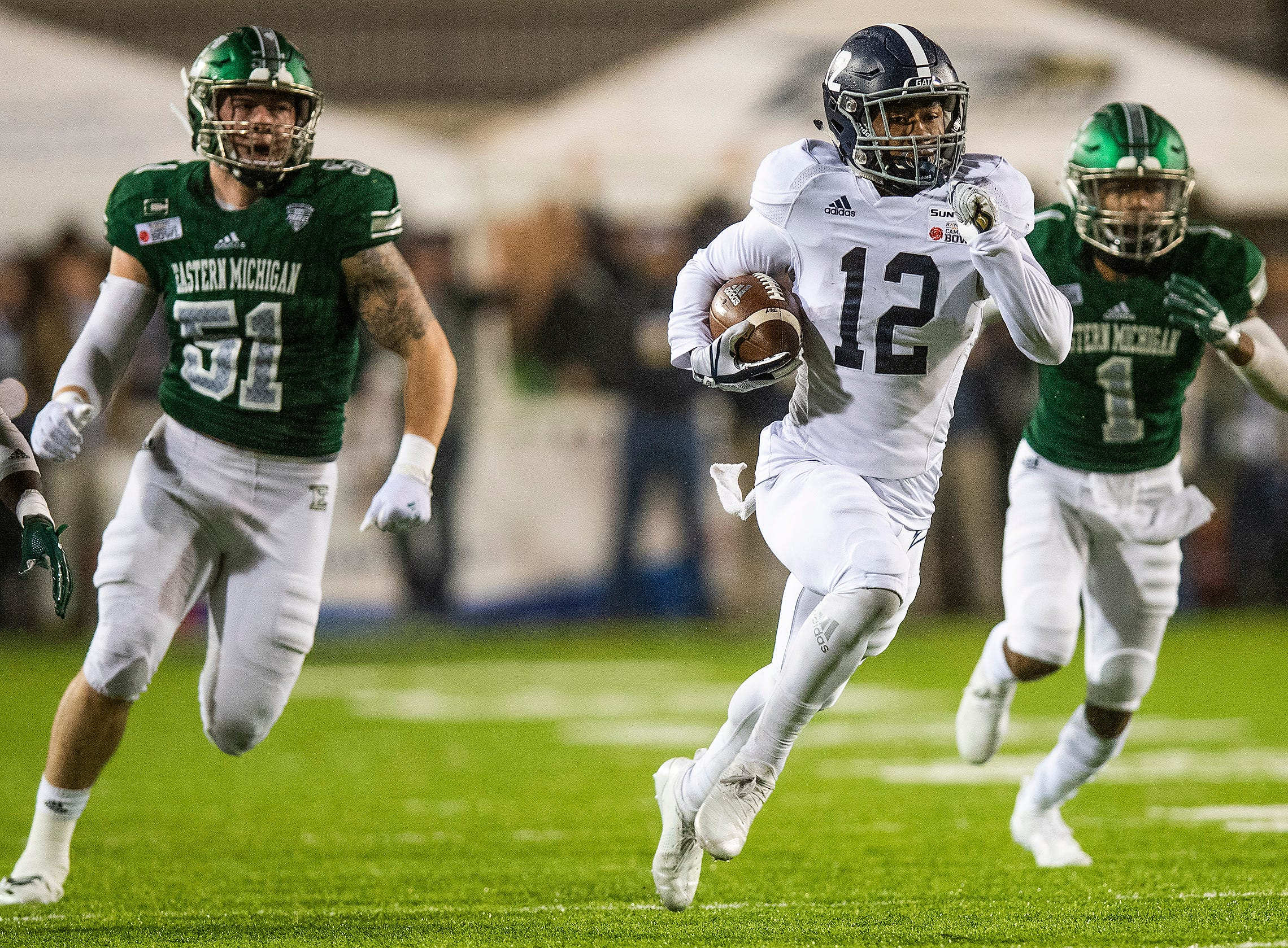 Georgia Southern running back Wesley Kennedy, III, (12)  breaks free for a big gain against Eastern Michigan during first half action in the Raycom Media  Camellia Bowl held at Cramton Bowl in Montgomery, Ala., on Saturday December 15, 2018.