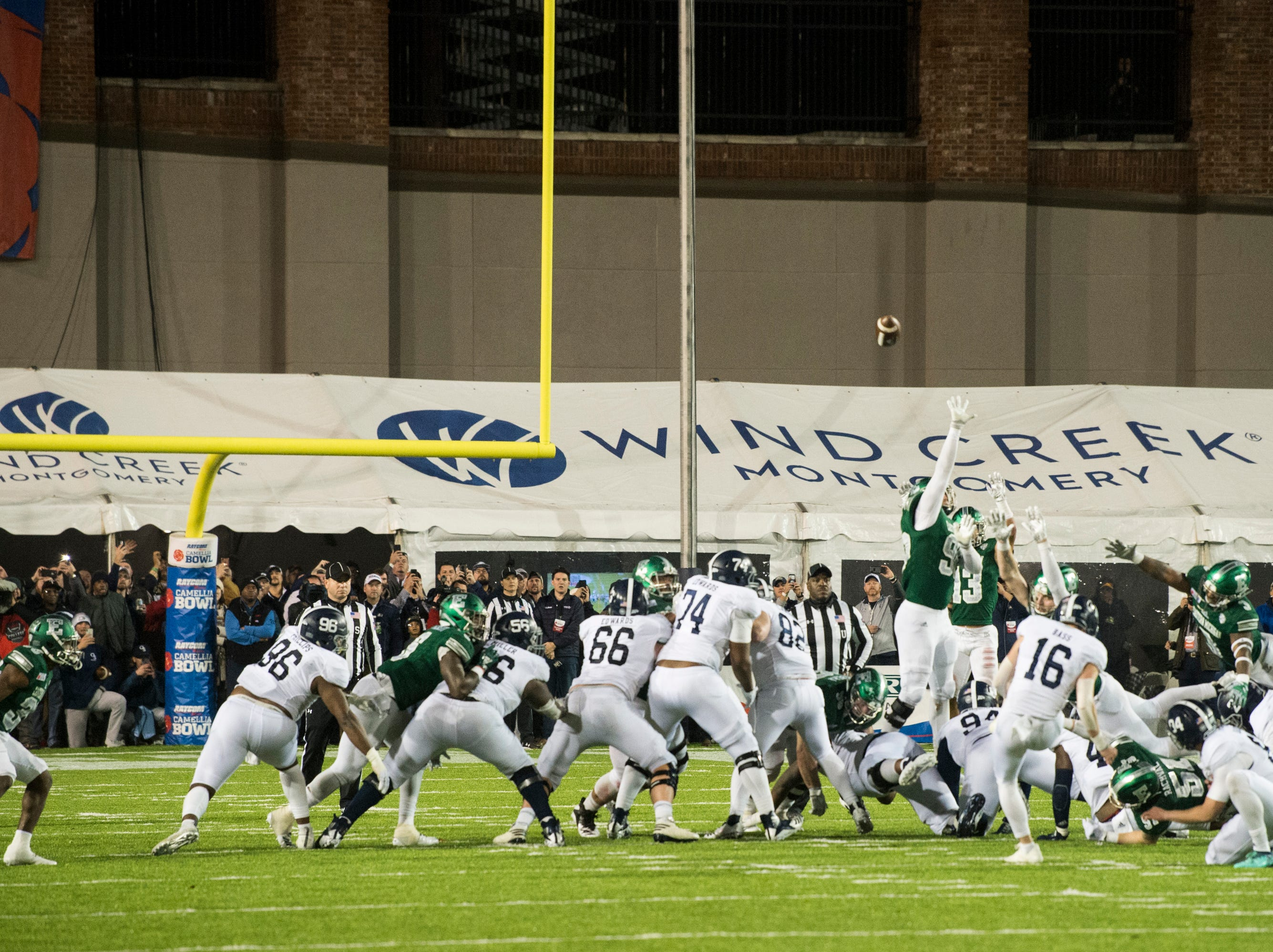 Georgia Southern placekicker Tyler Bass (16) kicks the game winning field goal during the Camellia Bowl at Cramton Bowl in Montgomery, Ala., on Saturday, Dec. 15, 2018. Georgia Southern defeated Eastern Michigan 23-21.