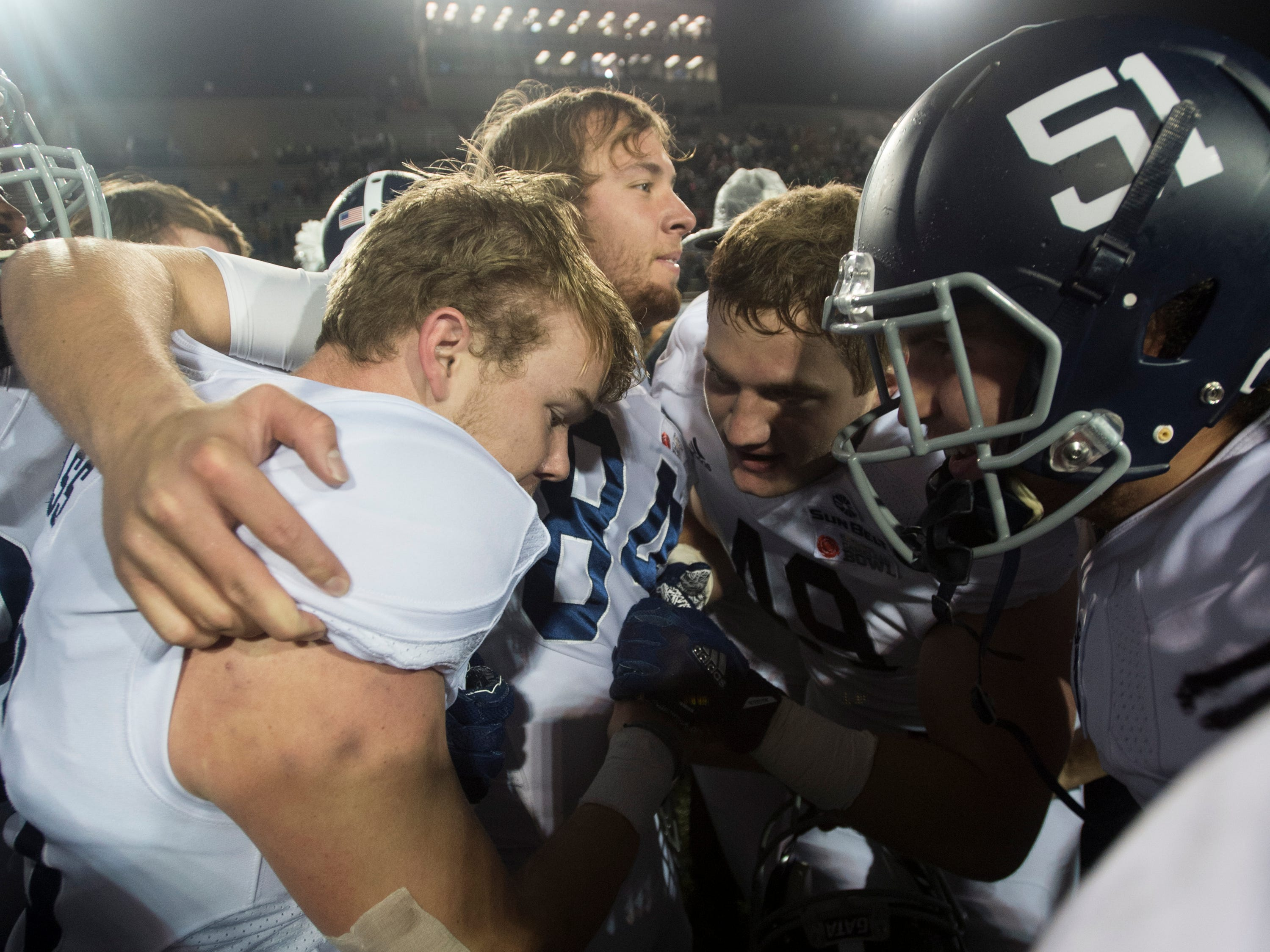 Georgia Southern placekicker Tyler Bass (16) celebrates with his team after the Camellia Bowl at Cramton Bowl in Montgomery, Ala., on Saturday, Dec. 15, 2018. Georgia Southern defeated Eastern Michigan 23-21.