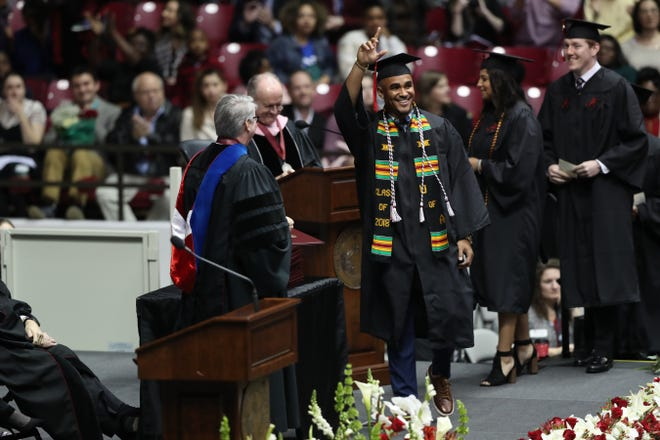 Alabama quarterback Jalen Hurts received his bachelor's degree in public relations during the university's winter commencement ceremony on Saturday.