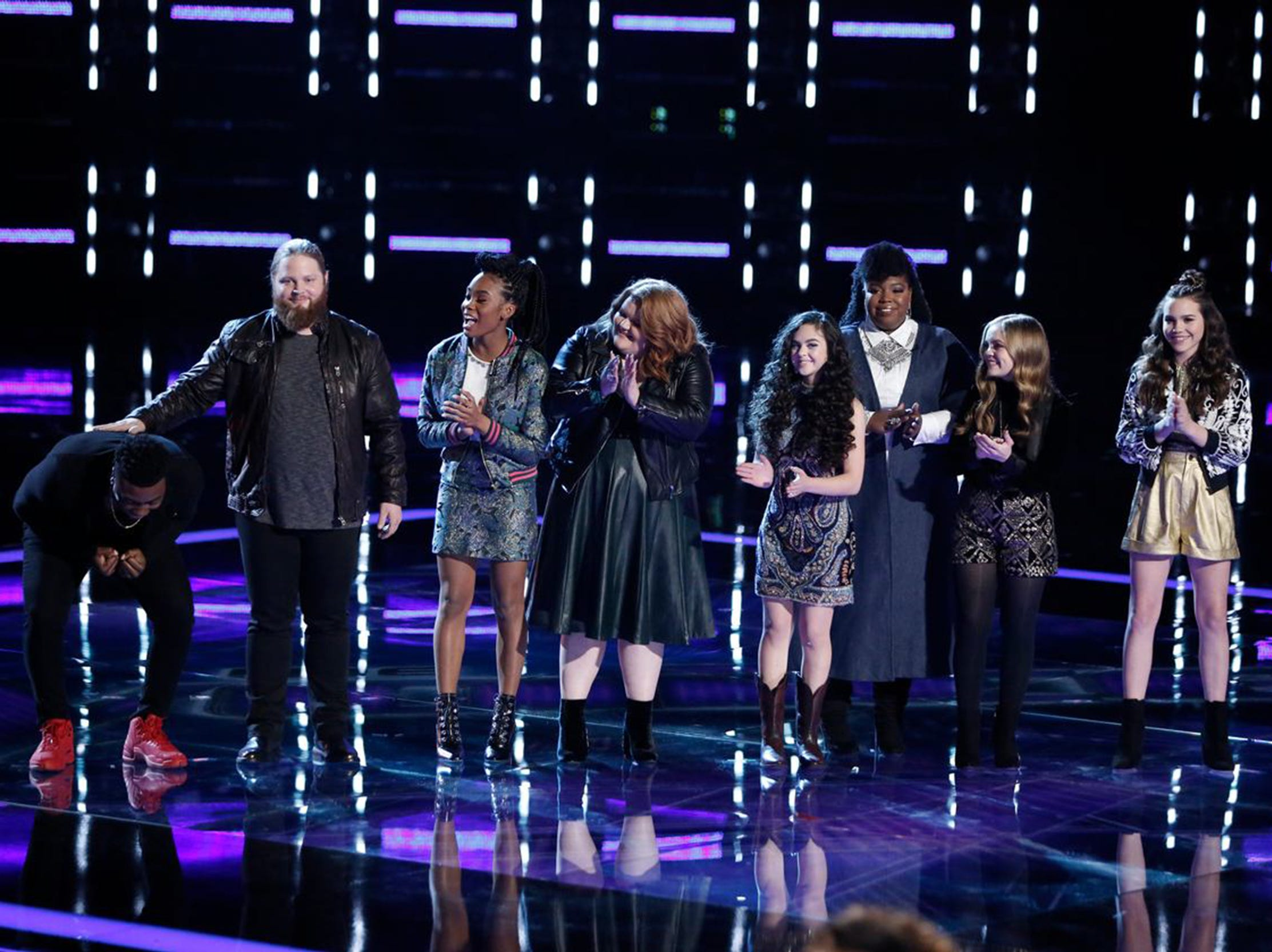 "Kirk Jay, left, is selected to be in the top four on Tuesday's results show on NBC's ""The Voice."""