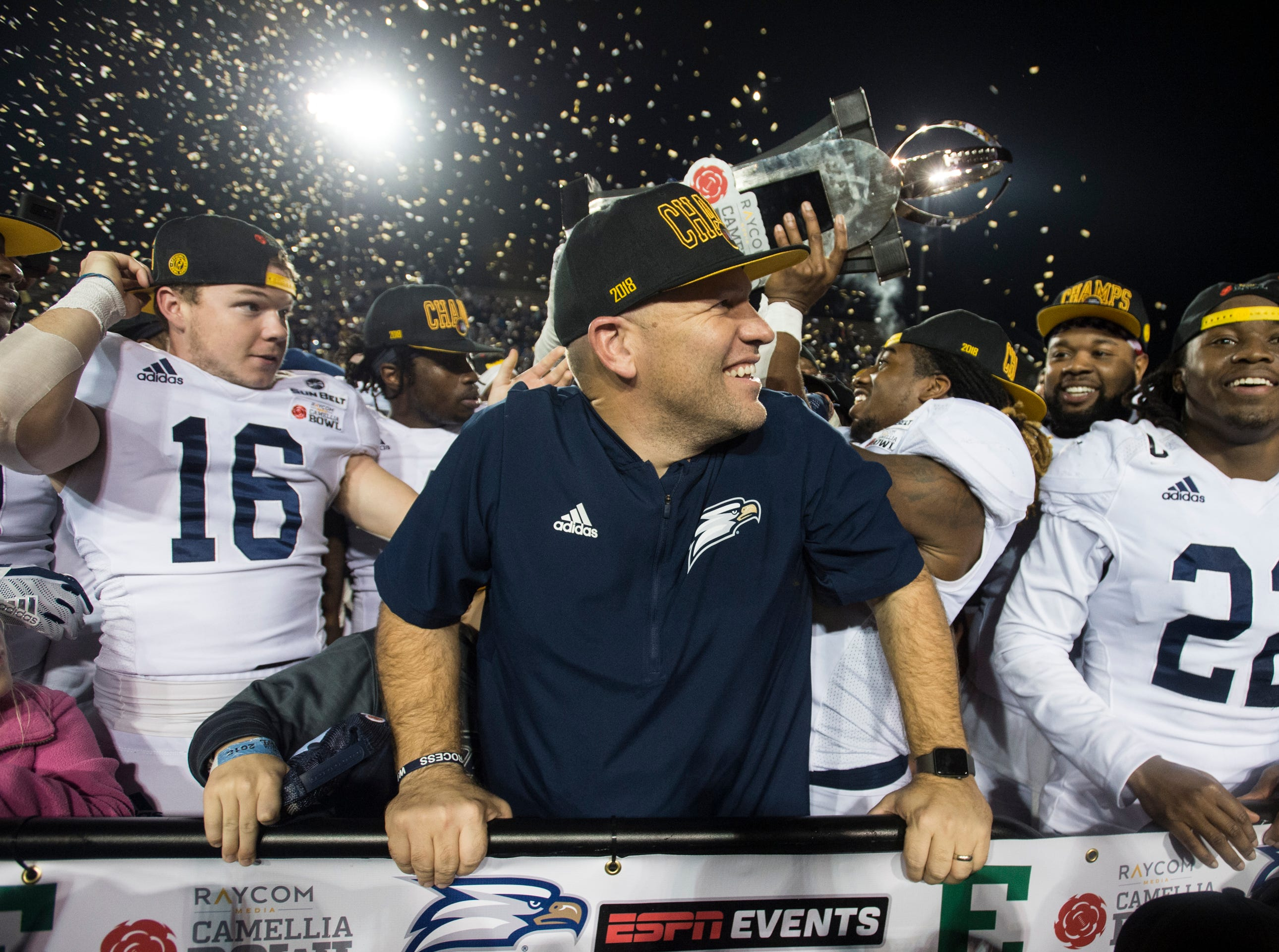 Georgia Southern head coach Chad Lunsford celebrates with his team after winning the Camellia Bowl at Cramton Bowl in Montgomery, Ala., on Saturday, Dec. 15, 2018. Georgia Southern defeated Eastern Michigan 23-21.