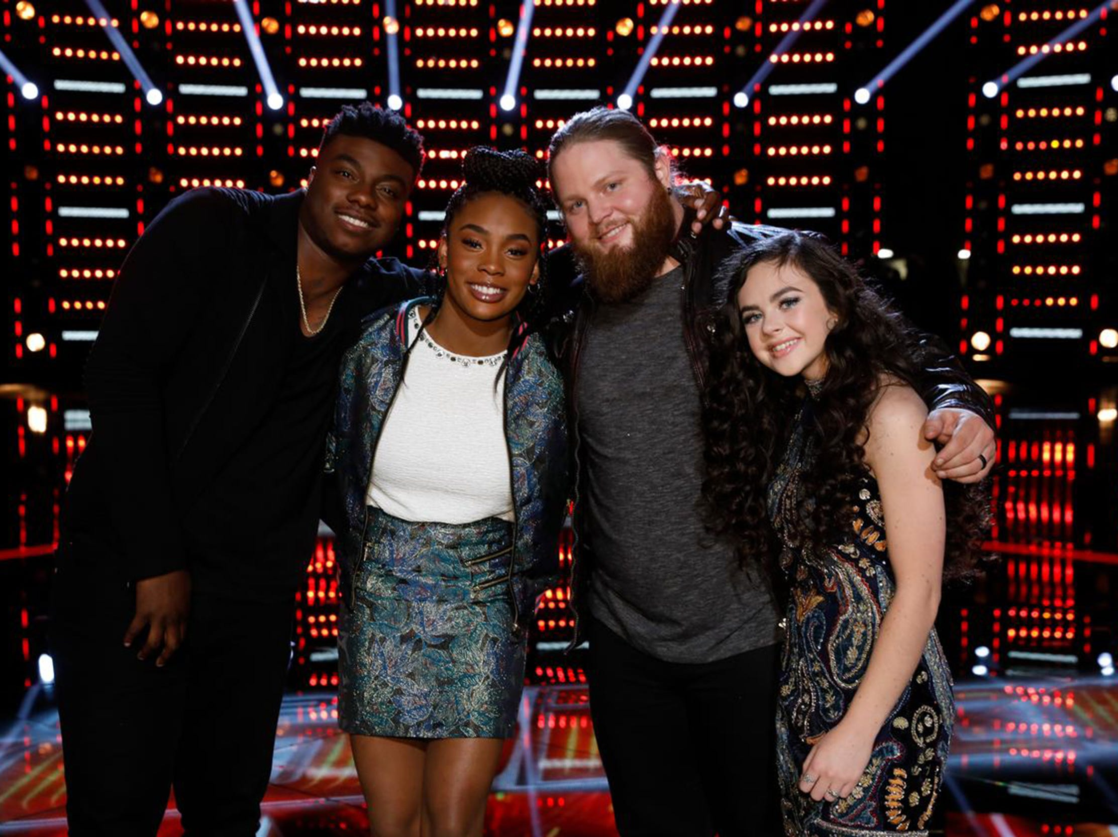 "From left are the four finalists on NBC's ""The Voice,"" Kirk Jay, Kennedy Holmes, Chris Kroeze, and Chevel Shepherd."