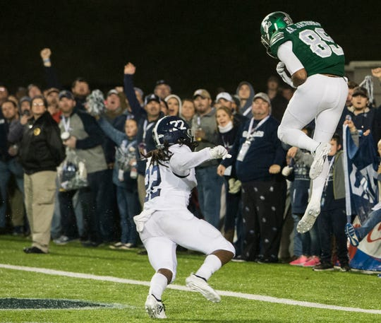 Eastern Michigan wide receiver Arthur Jackson, III, (89) catches a touchdown pass in the back of the end zone during the Camellia Bowl at Cramton Bowl in Montgomery, Ala., on Saturday, Dec. 15, 2018. Georgia Southern defeated Eastern Michigan 23-21.