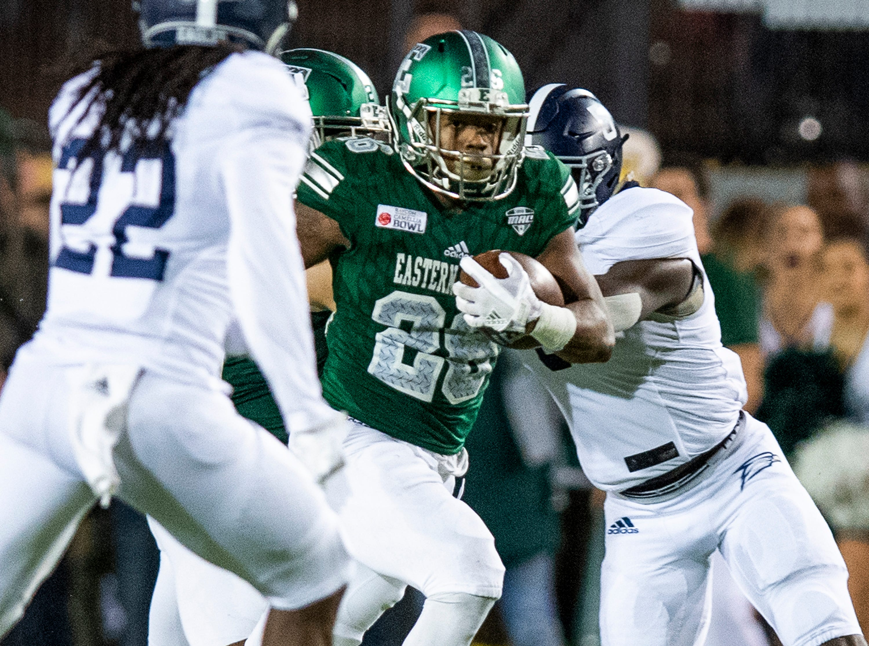 Eastern Michigan running back Willie Parker (26) carries the ball against Georgia Southern during first half action in the Raycom Media  Camellia Bowl held at Cramton Bowl in Montgomery, Ala., on Saturday December 15, 2018.