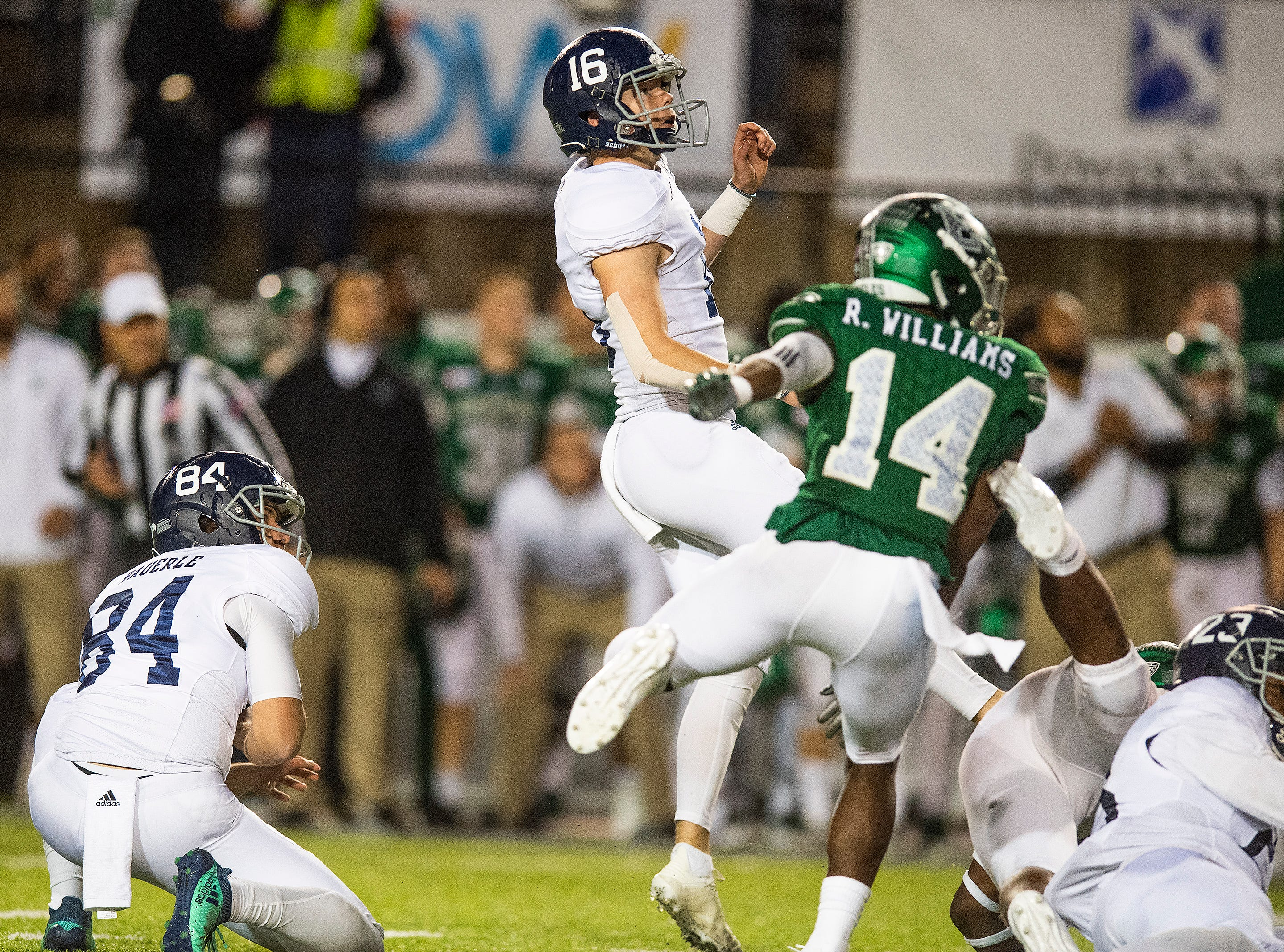 Georgia Southern placekicker Tyler Bass (16) kicks the game winning field goal against Eastern Michigan as time runs out in the Raycom Media  Camellia Bowl held at Cramton Bowl in Montgomery, Ala., on Saturday December 15, 2018.